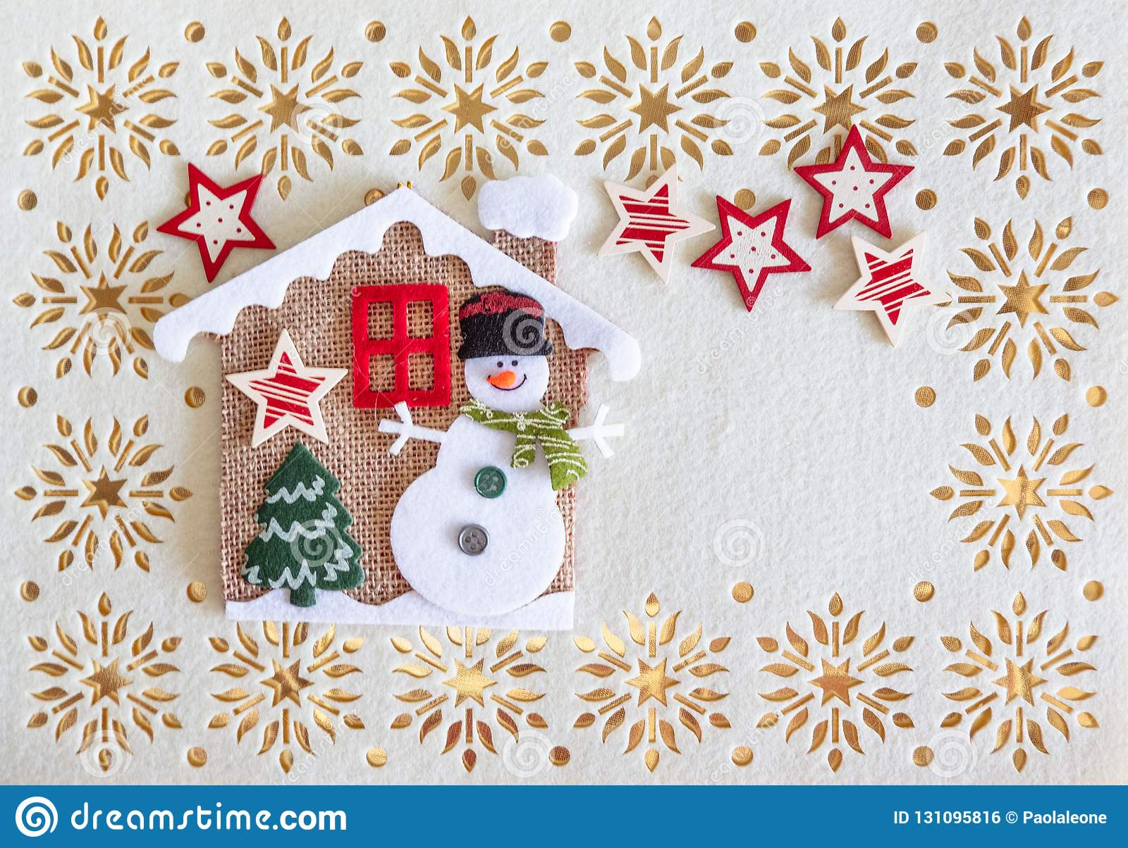 Christmas Card with Copy Space, Decoration made of Snowman with Tree and Stars in a little House