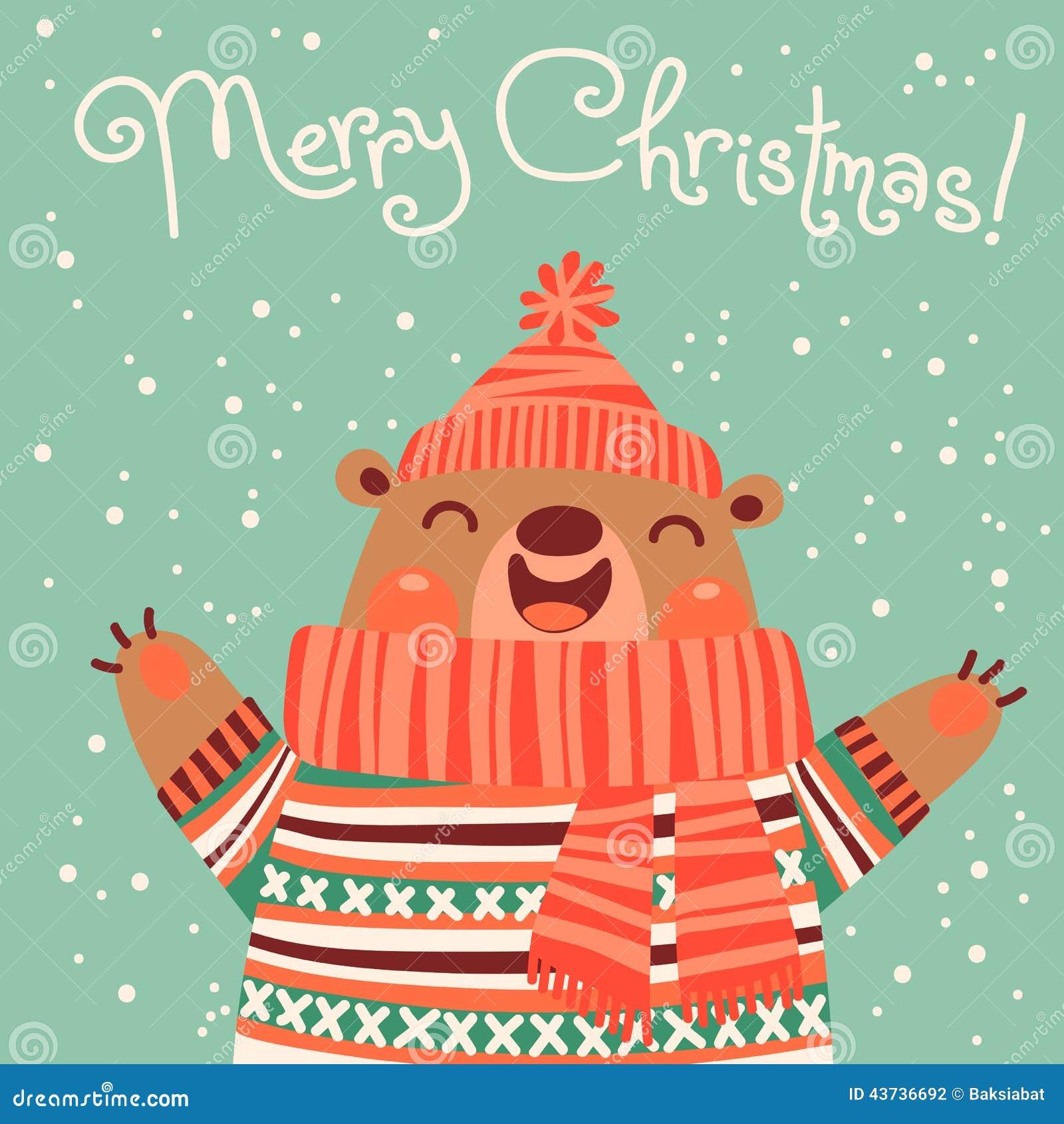 Christmas Card With A Cute Brown Bear Stock Vector Illustration