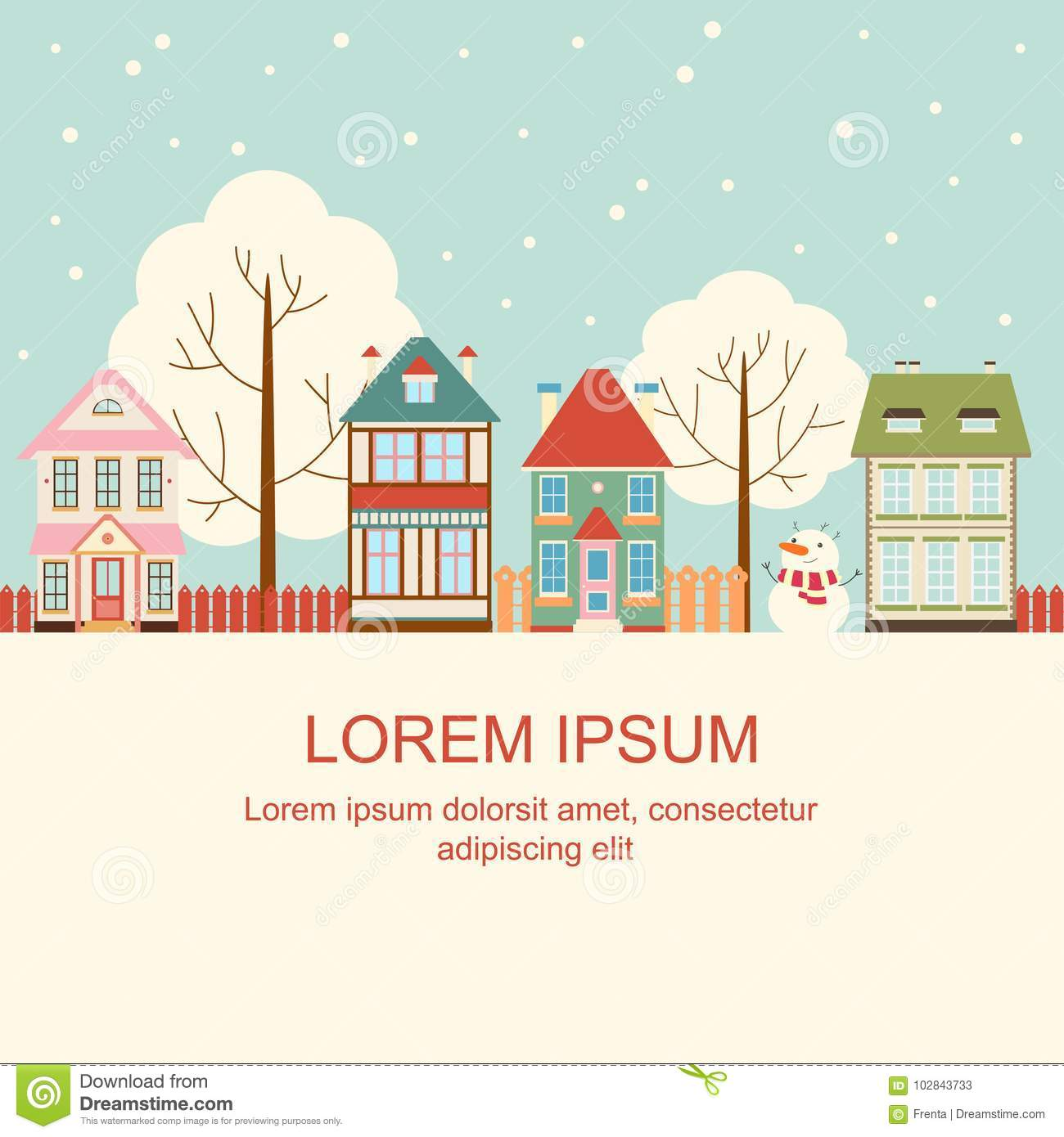 Christmas Card With Cute Cottages In Victorian Style Stock Vector