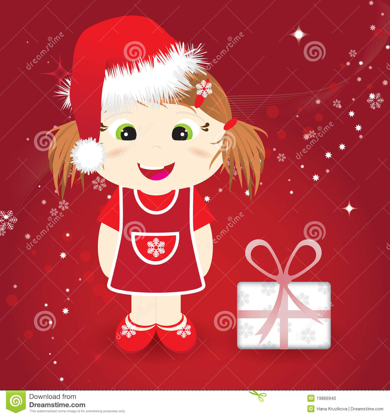 christmas card with cute little girl stock vector illustration of