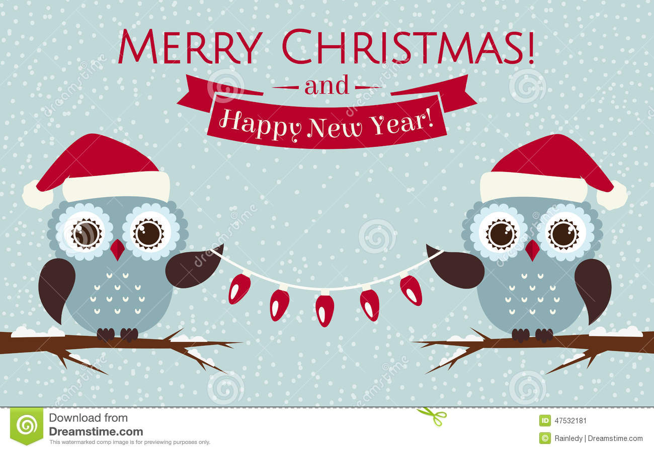 Christmas Card With Cute Owls And A Garland. Vector ...