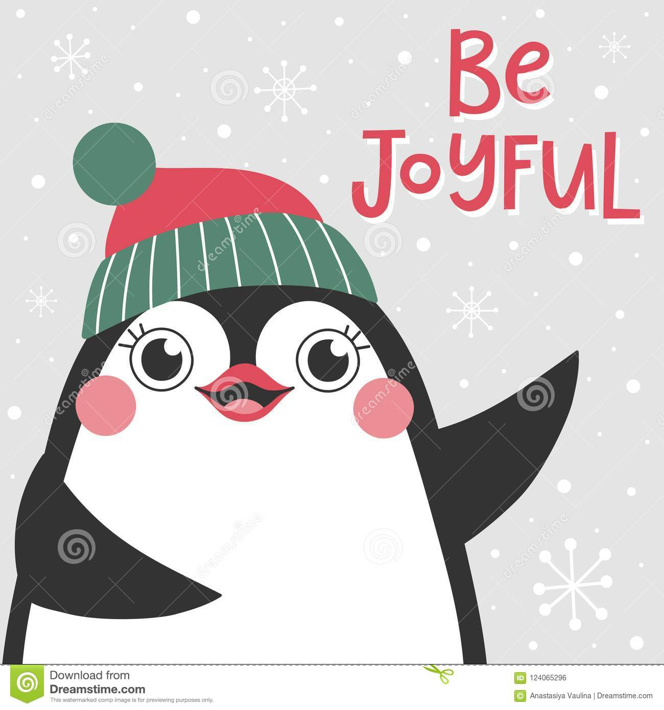 Christmas card with cute penguin and text Be joyful.