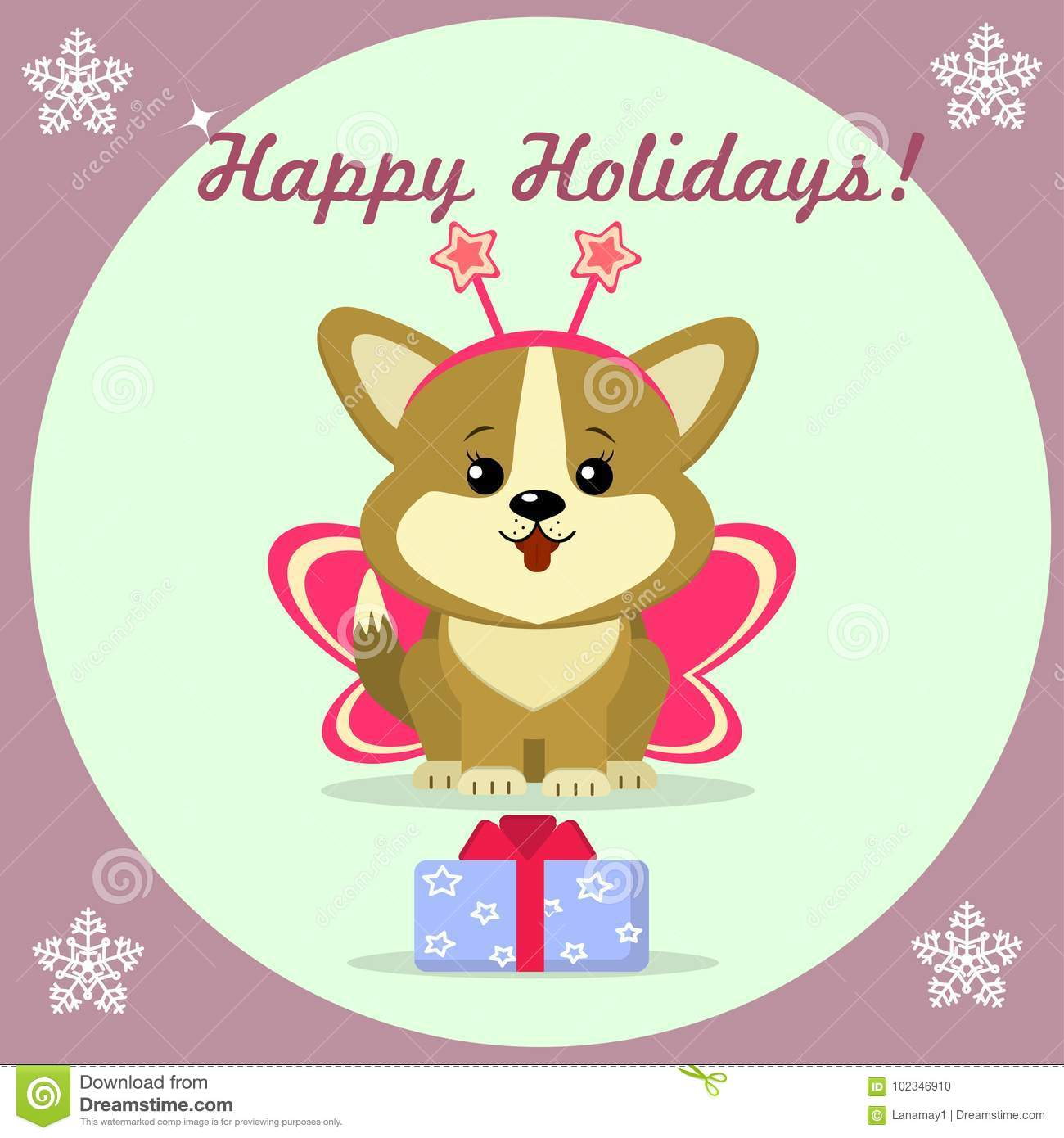 Christmas Card With Cute Puppy Corgi Stock Vector - Illustration of ...