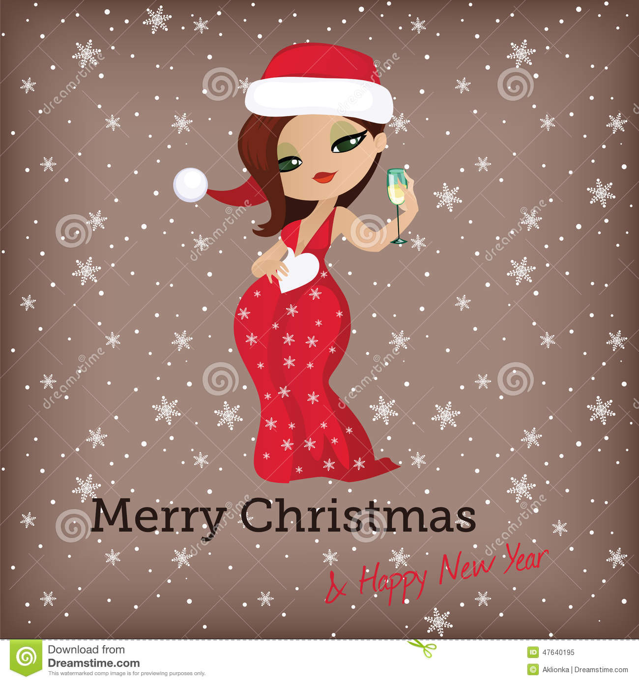christmas card with cute santa girl stock vector illustration of