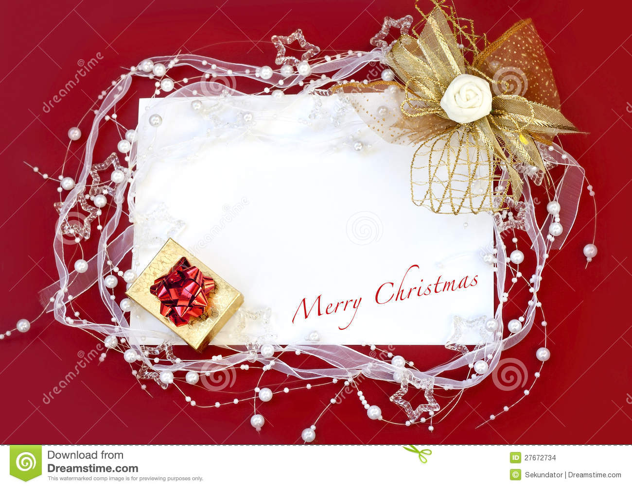 christmas card with decoration on red background
