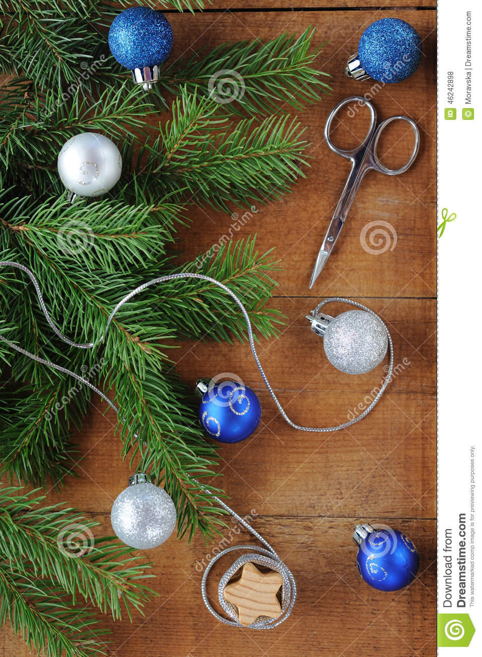 Christmas Card with decorations - silver thread, scissors, xmas tree and color balls.