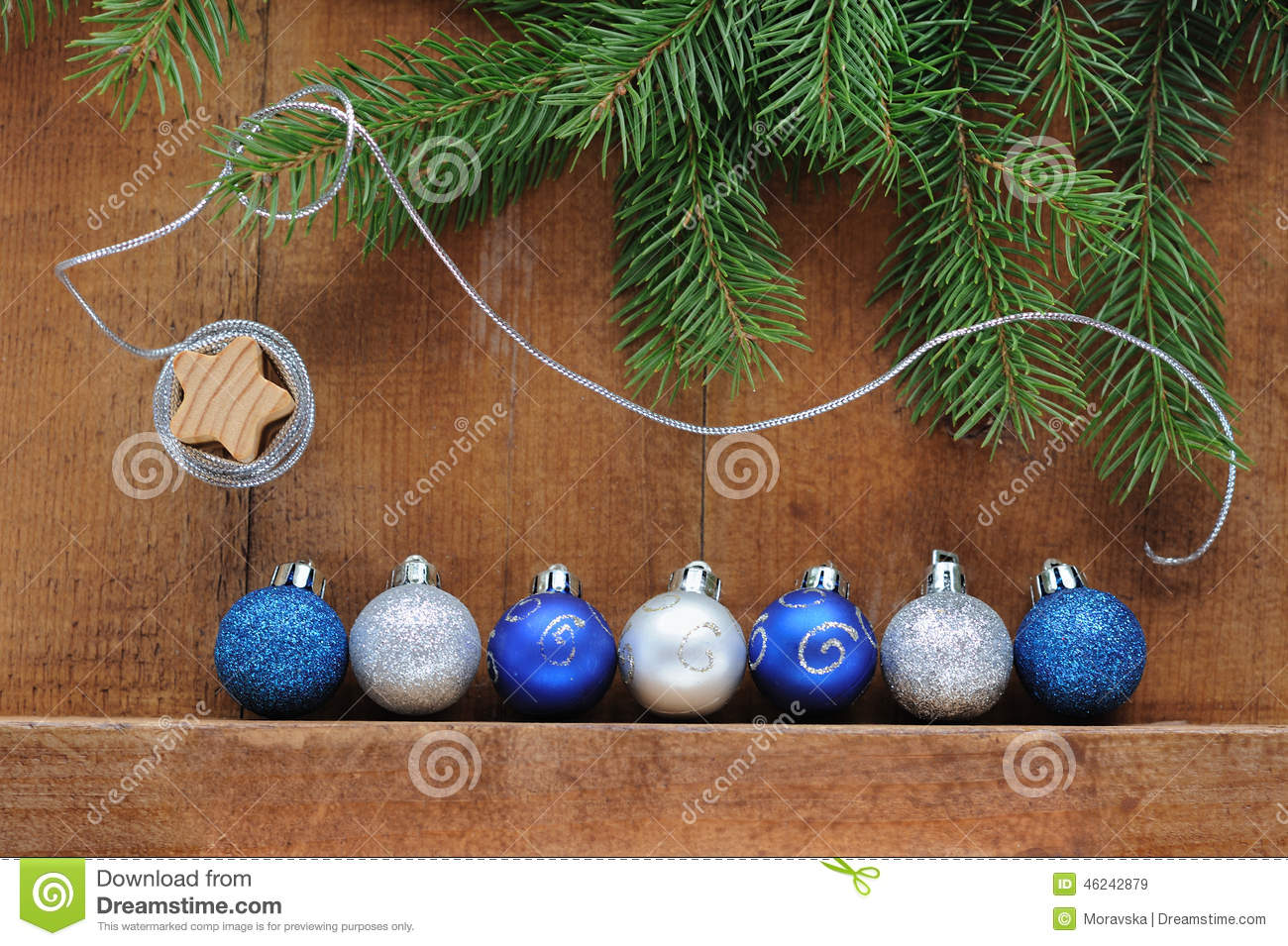 Christmas Card with decorations - silver thread, xmas tree and color balls.