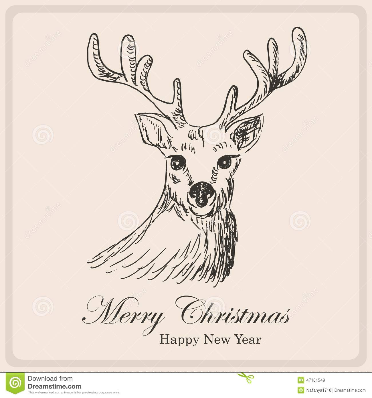 Reindeer Christmas Cards Drawings.Christmas Card With Deer Hand Drawing Illustration Stock