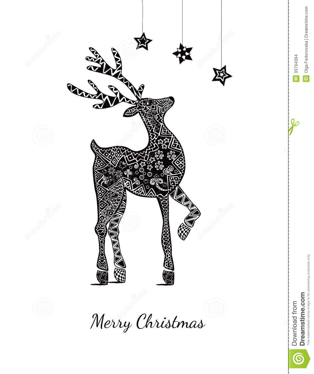 download christmas card with deer on white stock vector illustration of floral card - Deer Christmas Cards