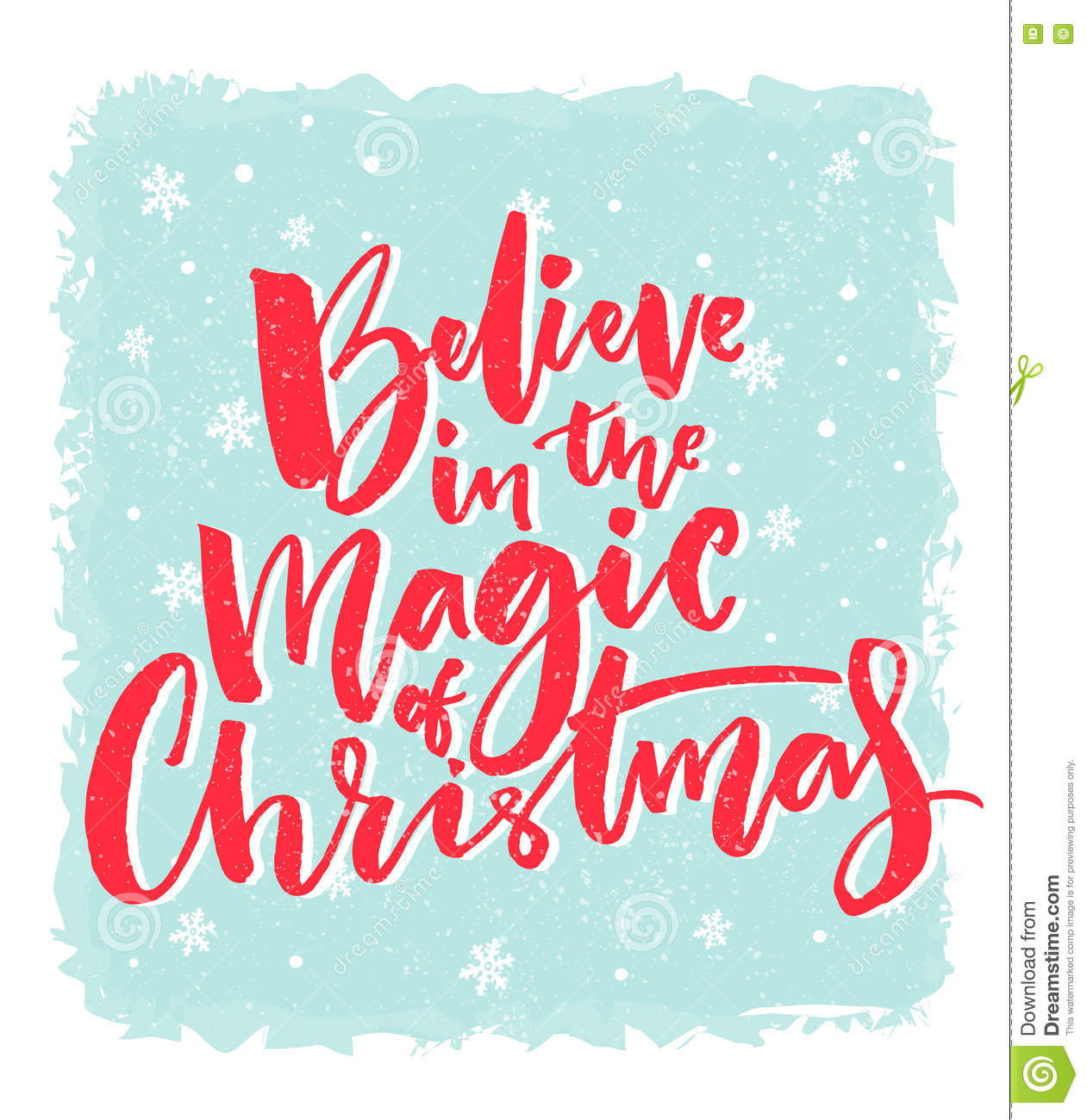Christmas Card Design. Believe In The Magic Of Christmas. Inspirational Xmas  Quote. Red Brush Calligraphy Text On Blue Awesome Design