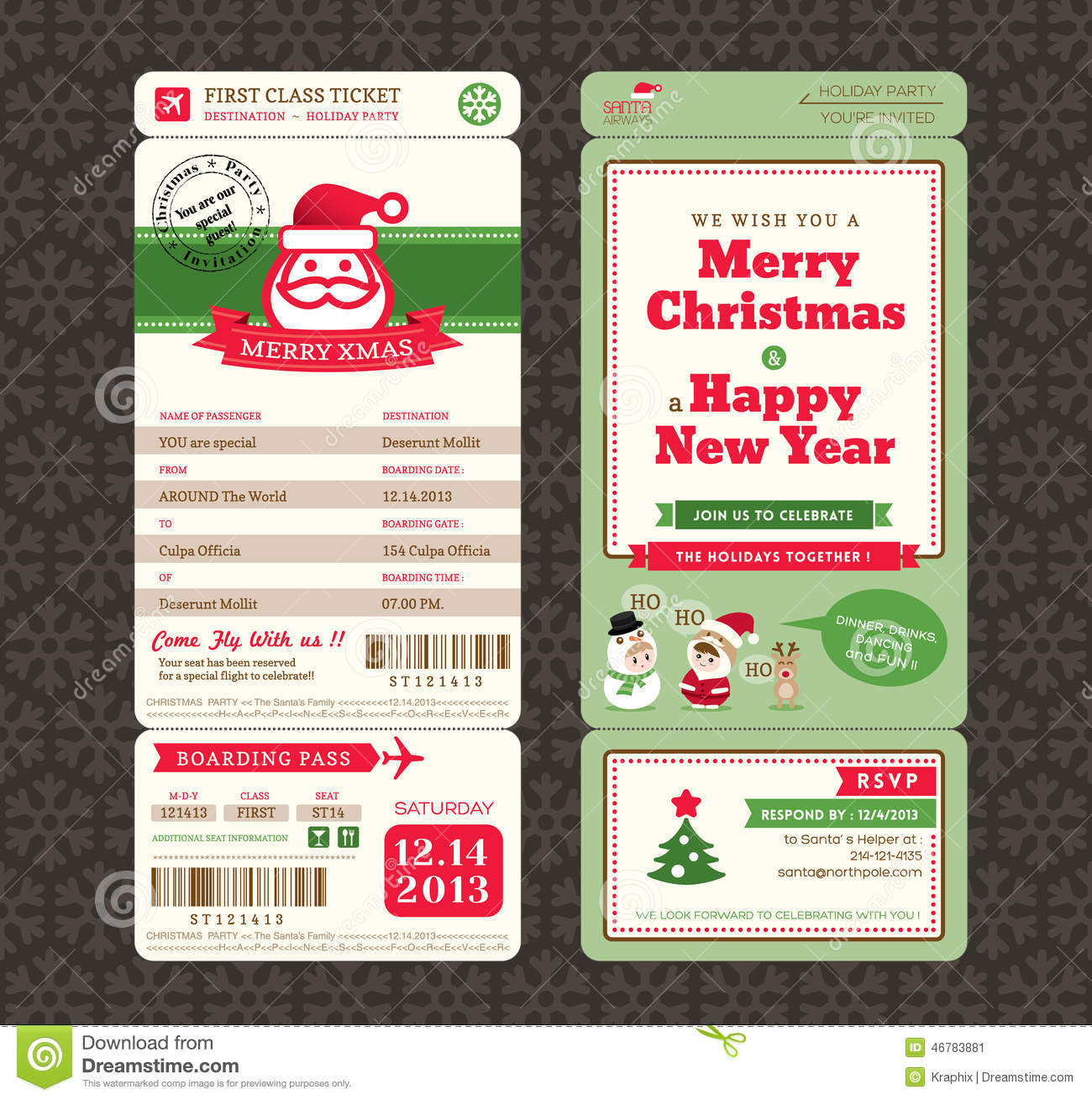 Christmas Card Design Boarding Pass Ticket Template. Royalty Free Vector  Christmas Party Ticket Template Free