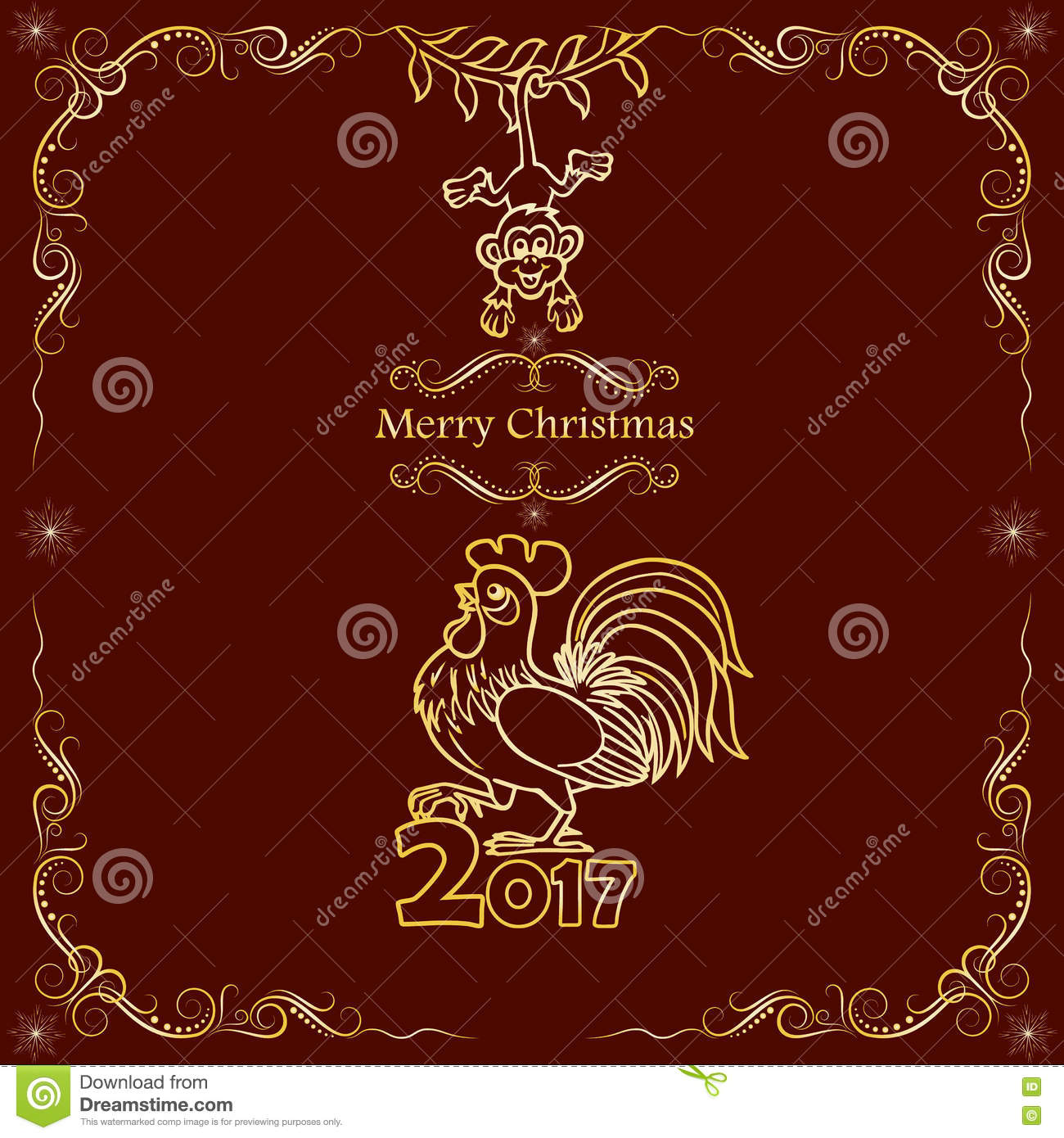 Christmas Card Design 2017 Chinese New Year Of The Rooster Stock