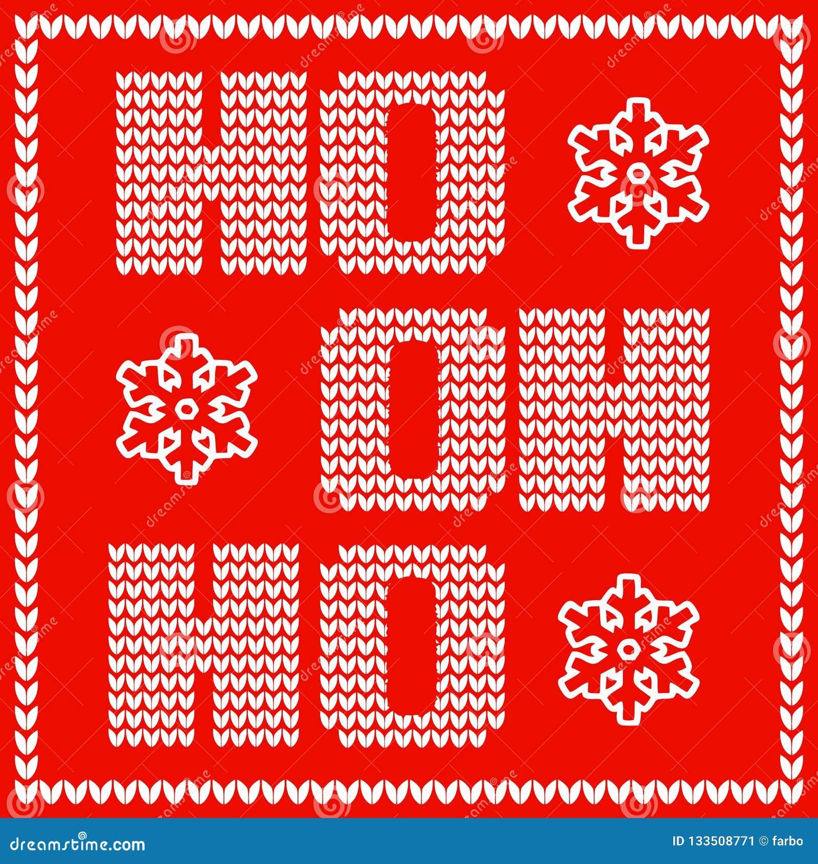 Christmas card design with knitted santas sayings words ho ho ho