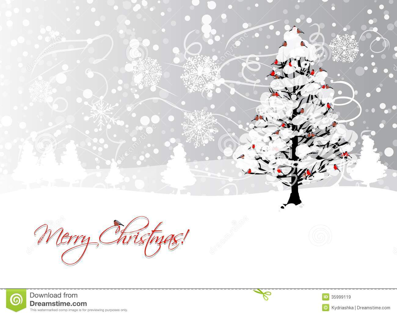 Christmas card design with winter tree and royalty free for Where to go for a white christmas in usa
