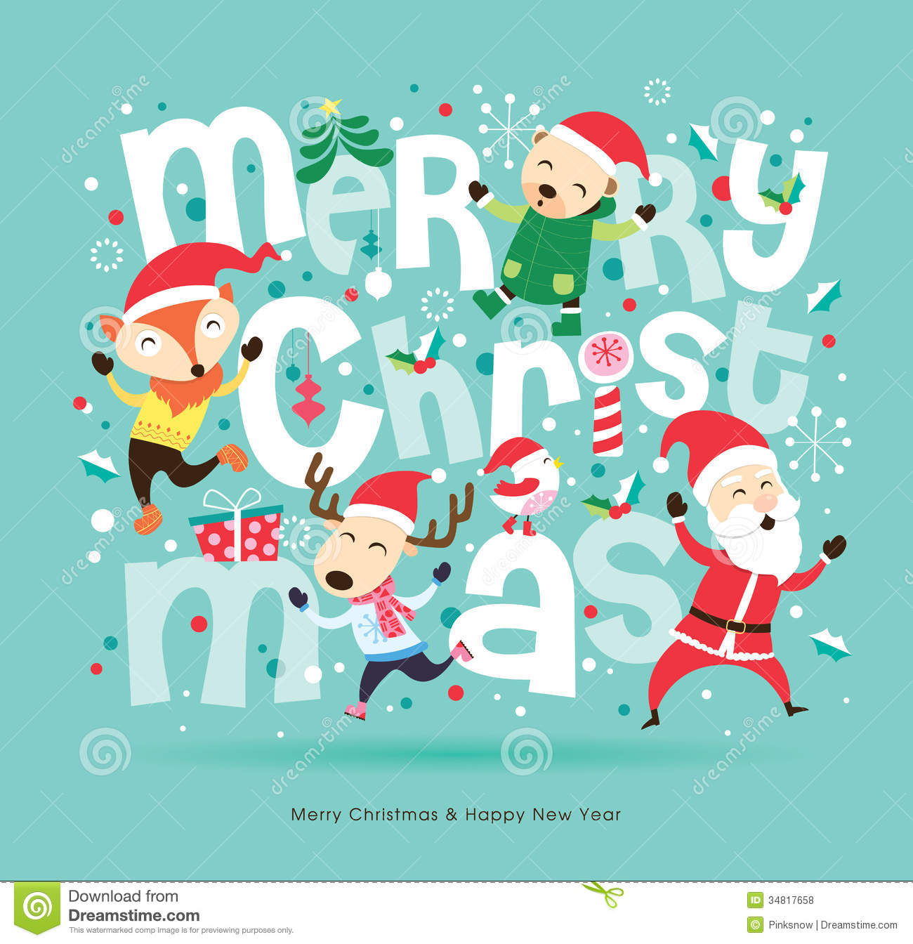 Download Christmas Cards.Christmas Card Stock Vector Illustration Of Festive 34817658