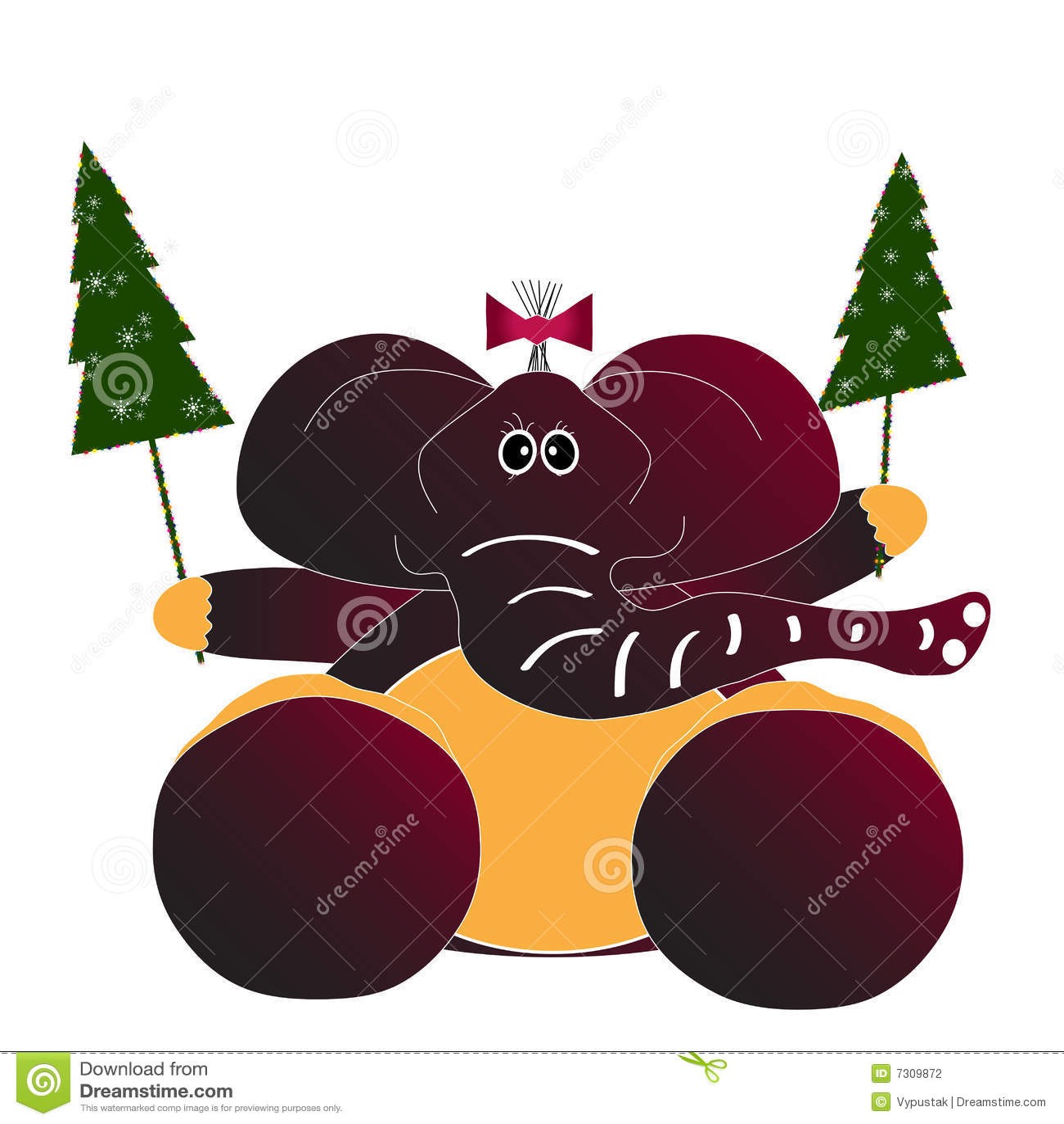 christmas card with elephant stock illustration