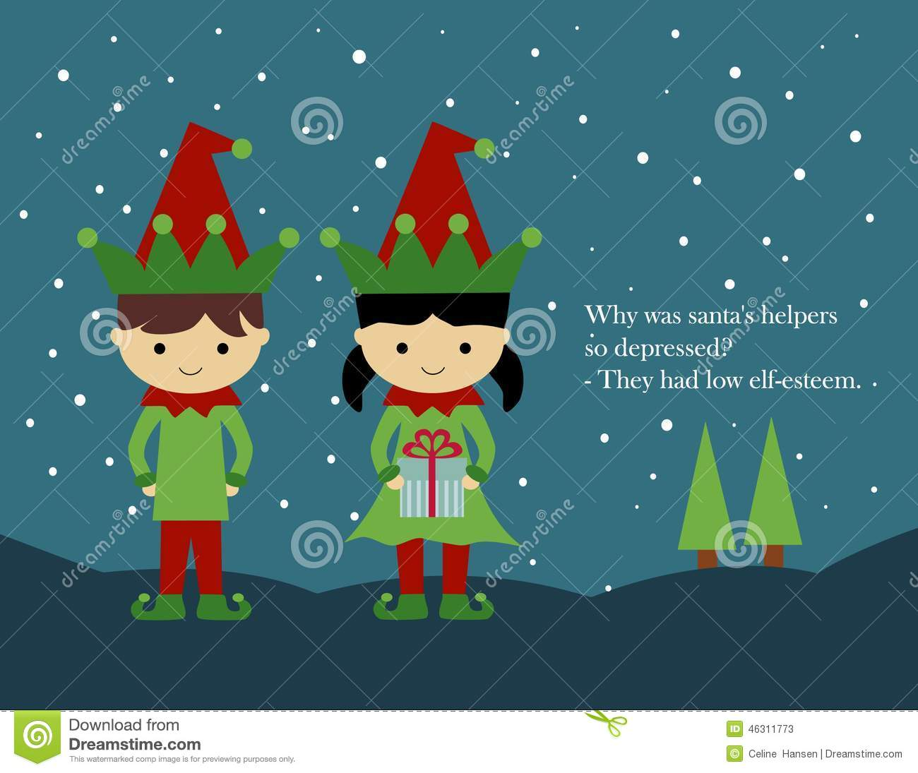 download christmas card elves stock illustration illustration of elves 46311773 - Elf Christmas Card