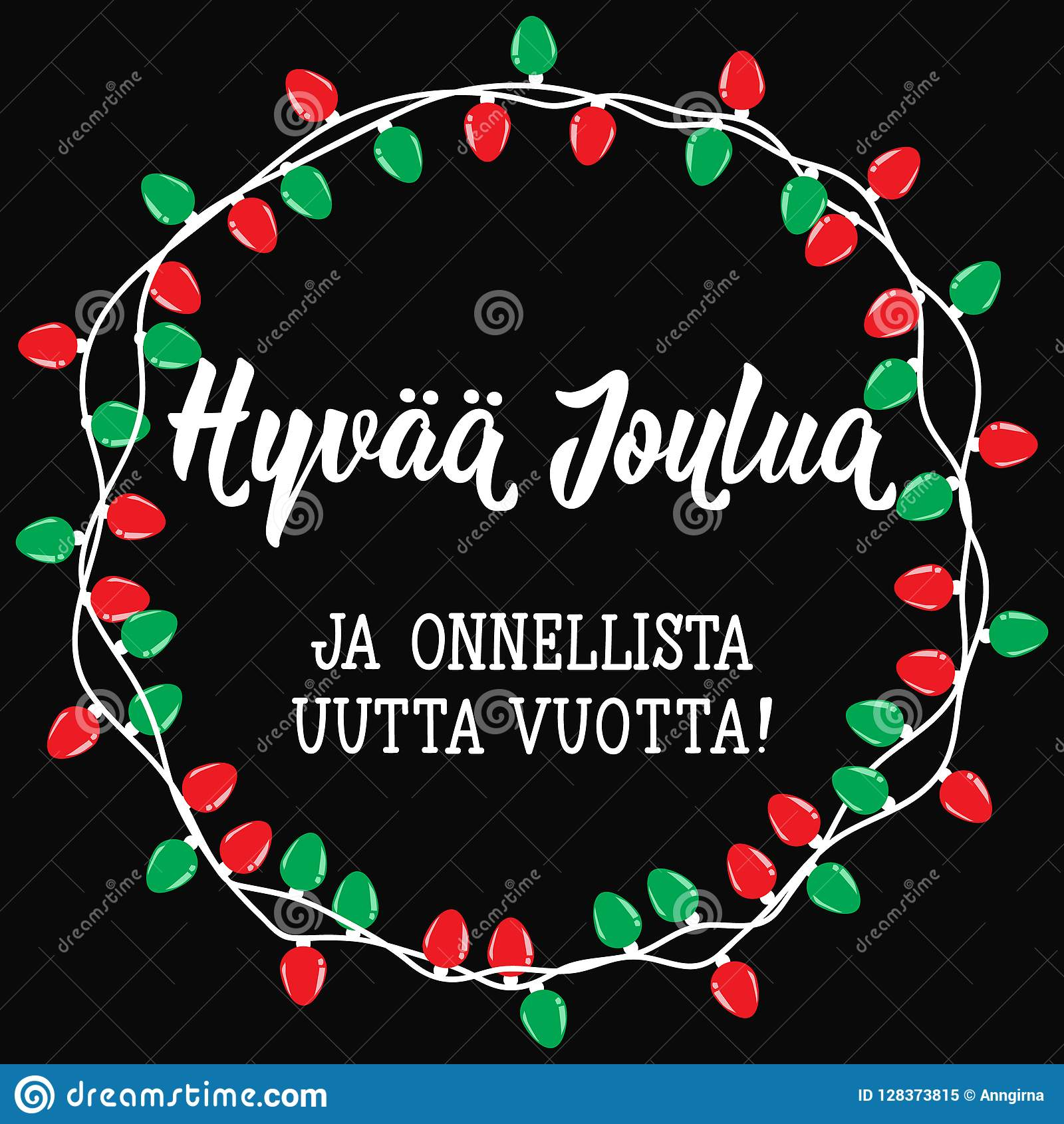 Christmas Card. Finnish Text: Merry Christmas. Happy New ...
