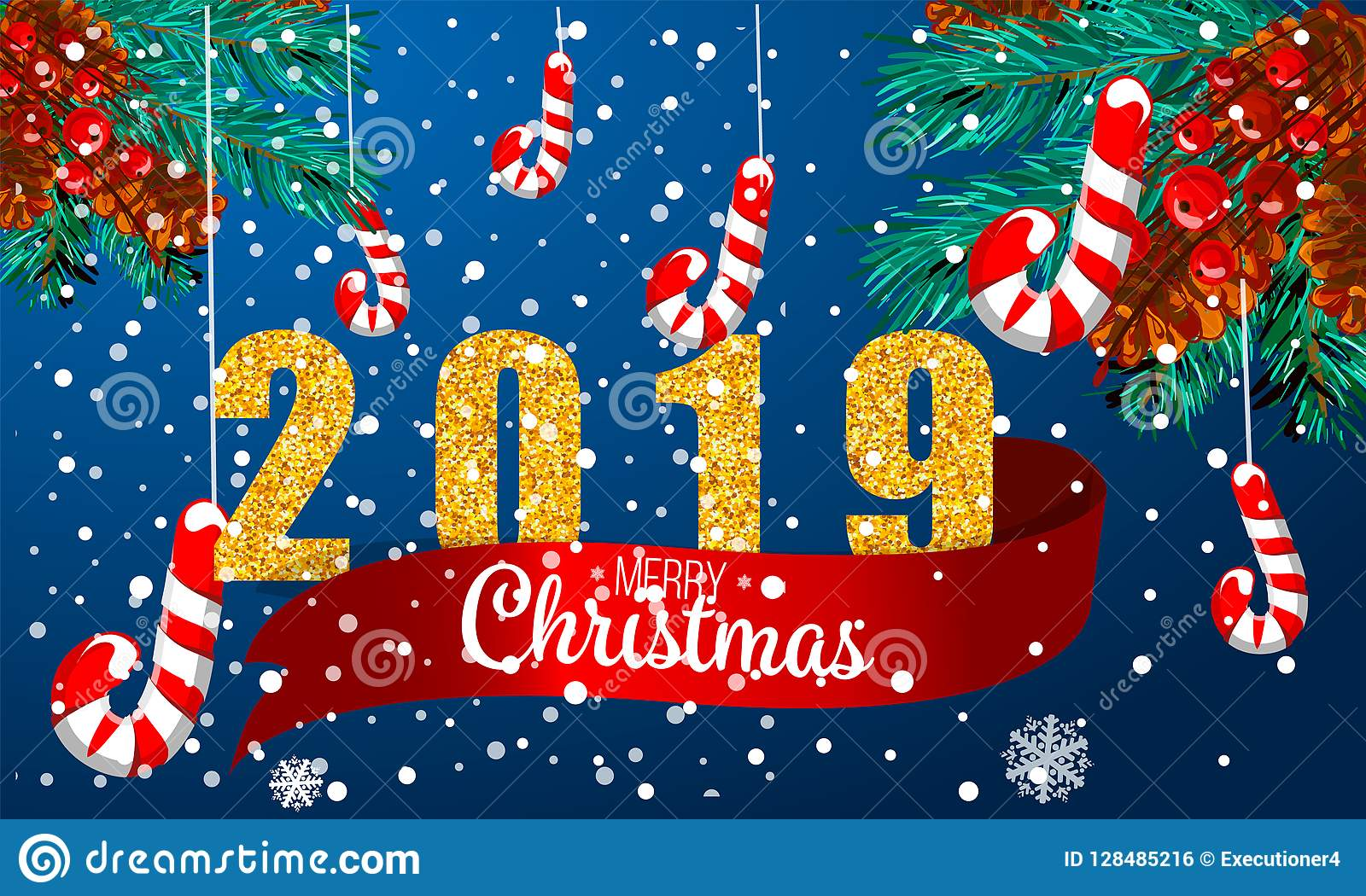 Christmas Graphics 2019.Christmas Card With Fir Branches 2019 Red Ribbon And Snow