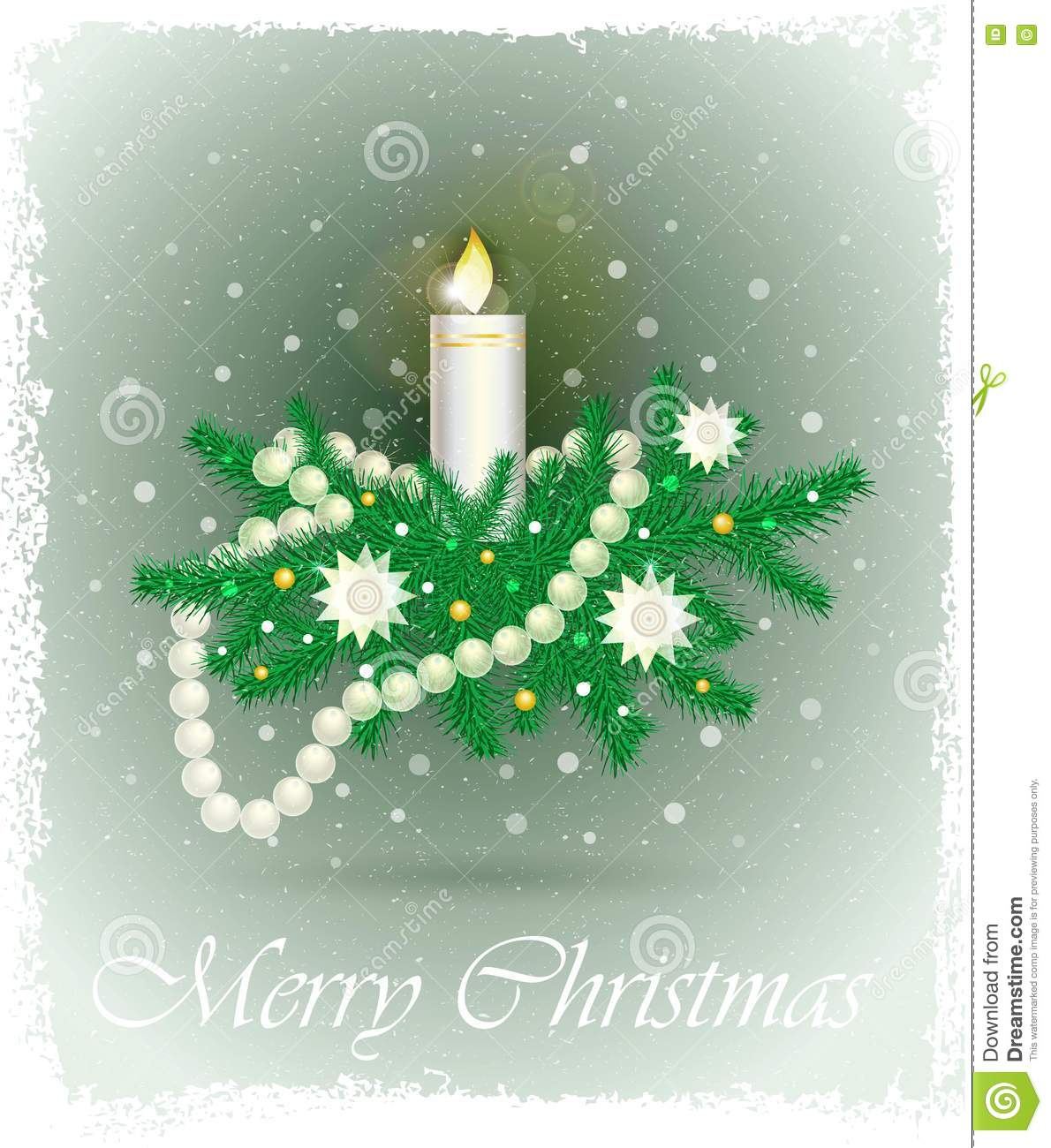 Christmas card with fir branches, candle, beads, stars.