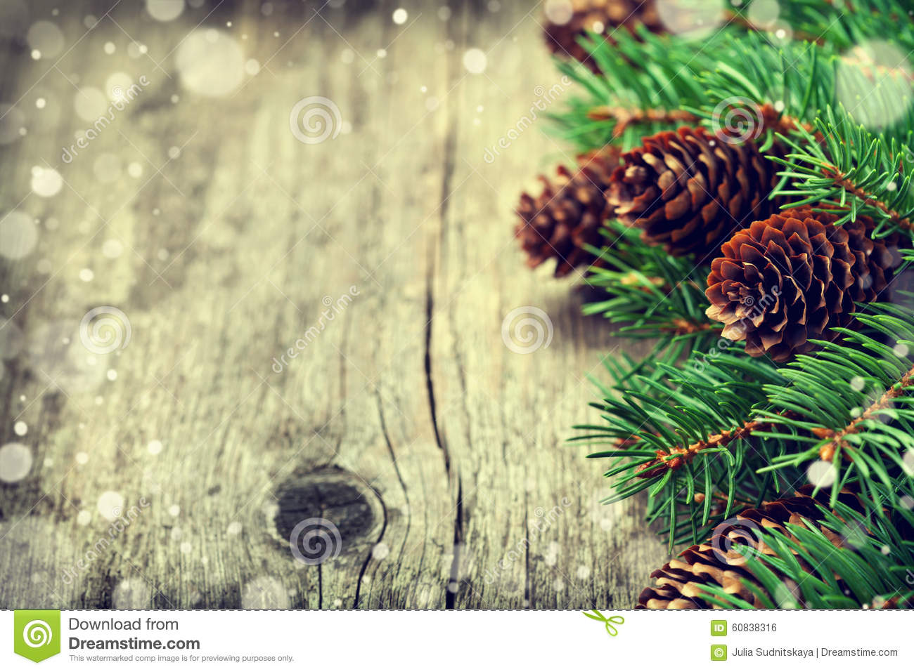 Download Christmas Card Of Fir Tree And Conifer Cone On Rustic Wooden Background Stock Photo