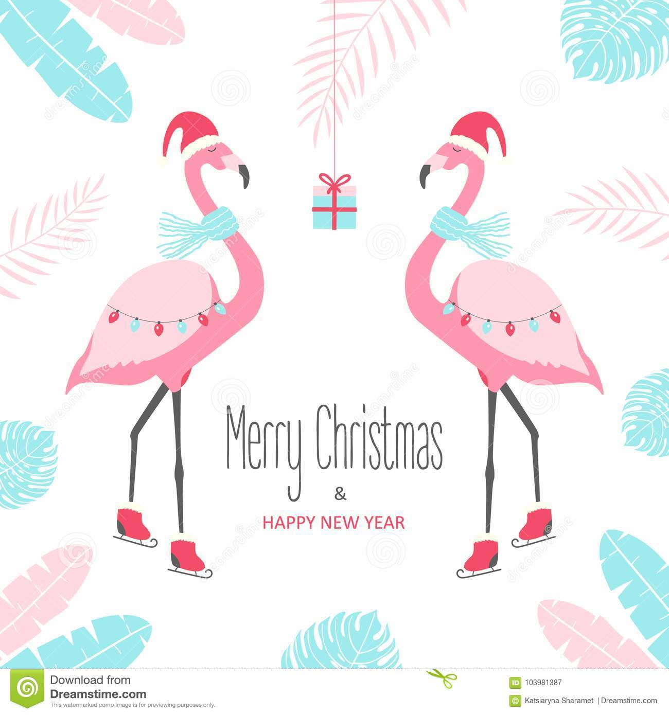 Christmas Card With Flamingo. Stock Vector - Illustration of holiday ...