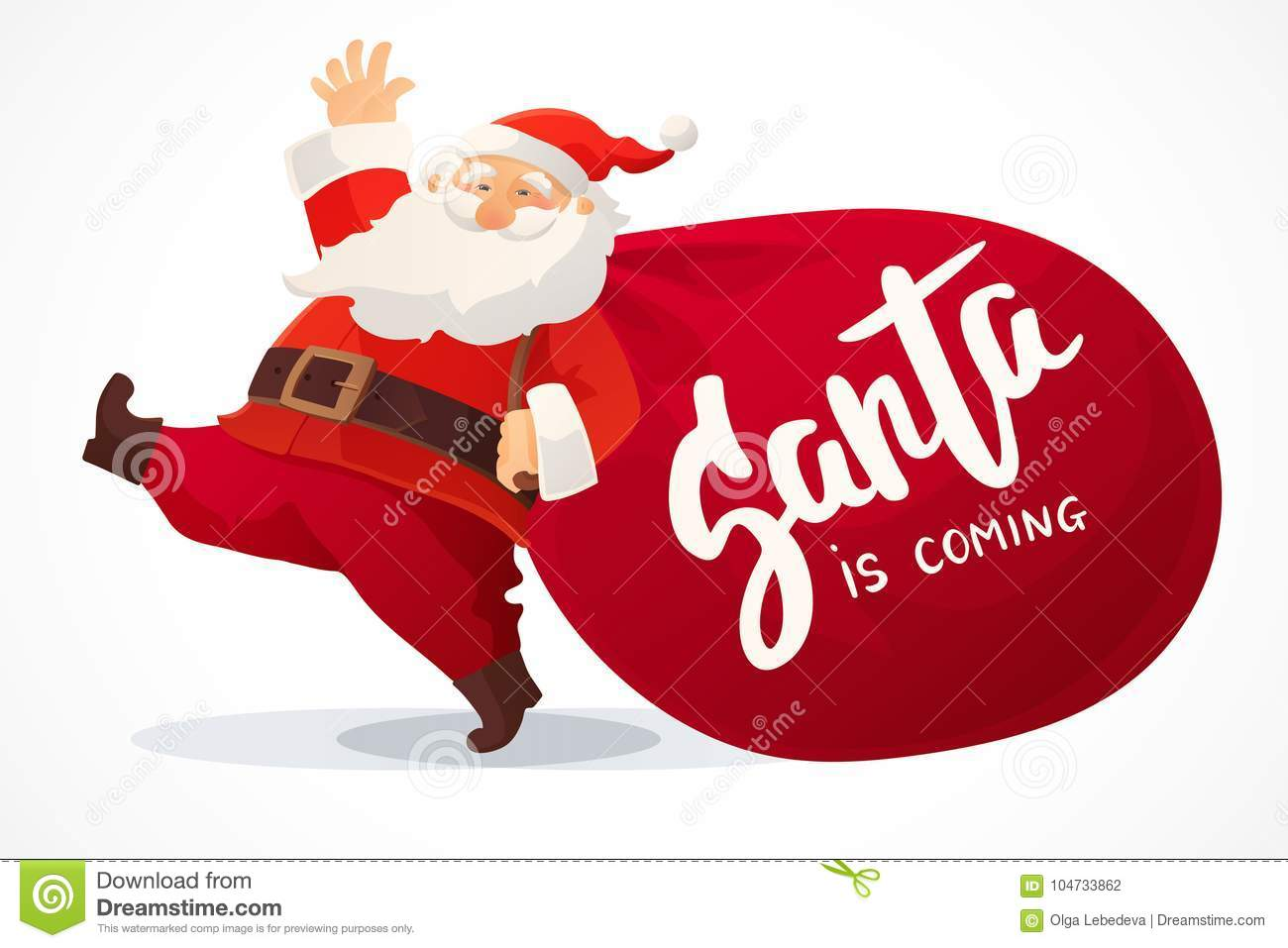 Huge Christmas Card.Christmas Card Funny Cartoon Santa Claus With Huge Red Bag With