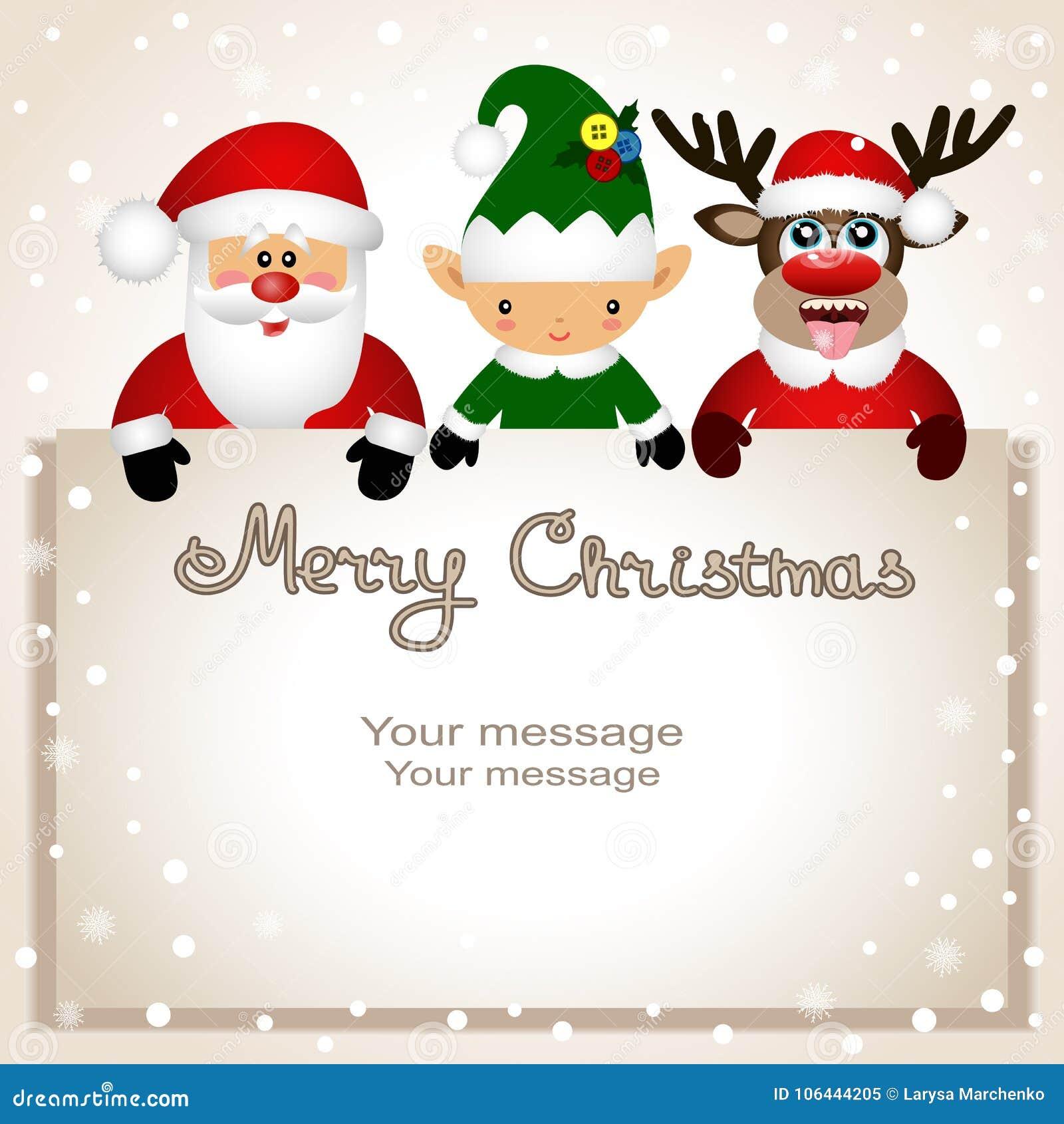 Christmas Card Funny Postcard With Christmas Elf Christmas Rei