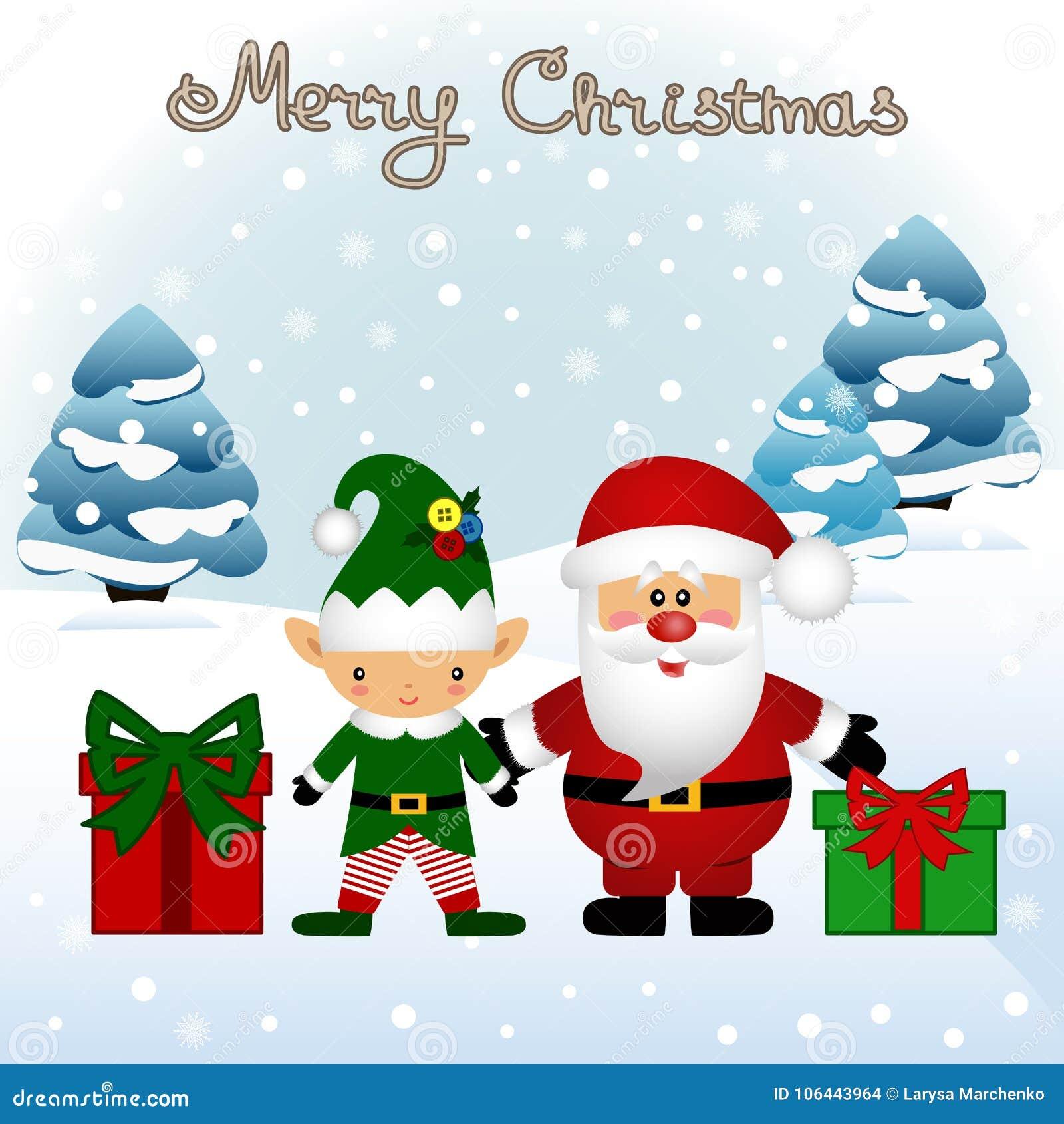 download christmas card funny postcard with christmas elf and santa stock vector illustration - Elf Christmas Card