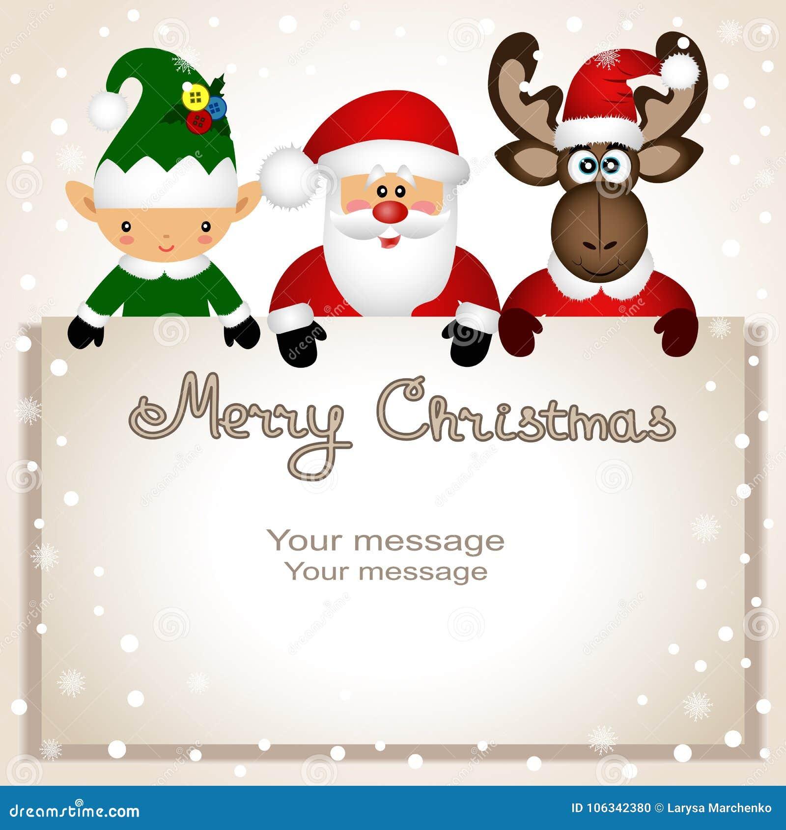 Christmas Card. Funny Postcard With Christmas Elf, Christmas Moo ...