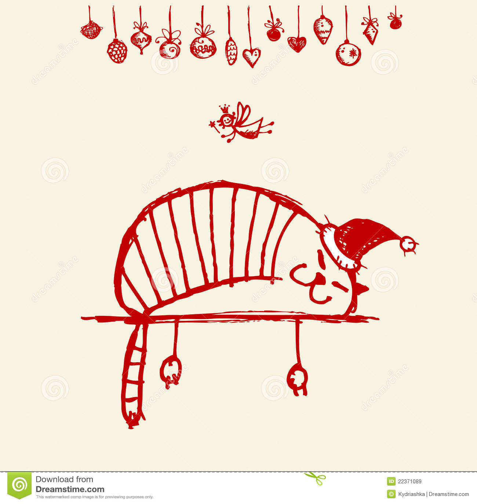 christmas card funny santa cat for your design stock vector image 22371089. Black Bedroom Furniture Sets. Home Design Ideas