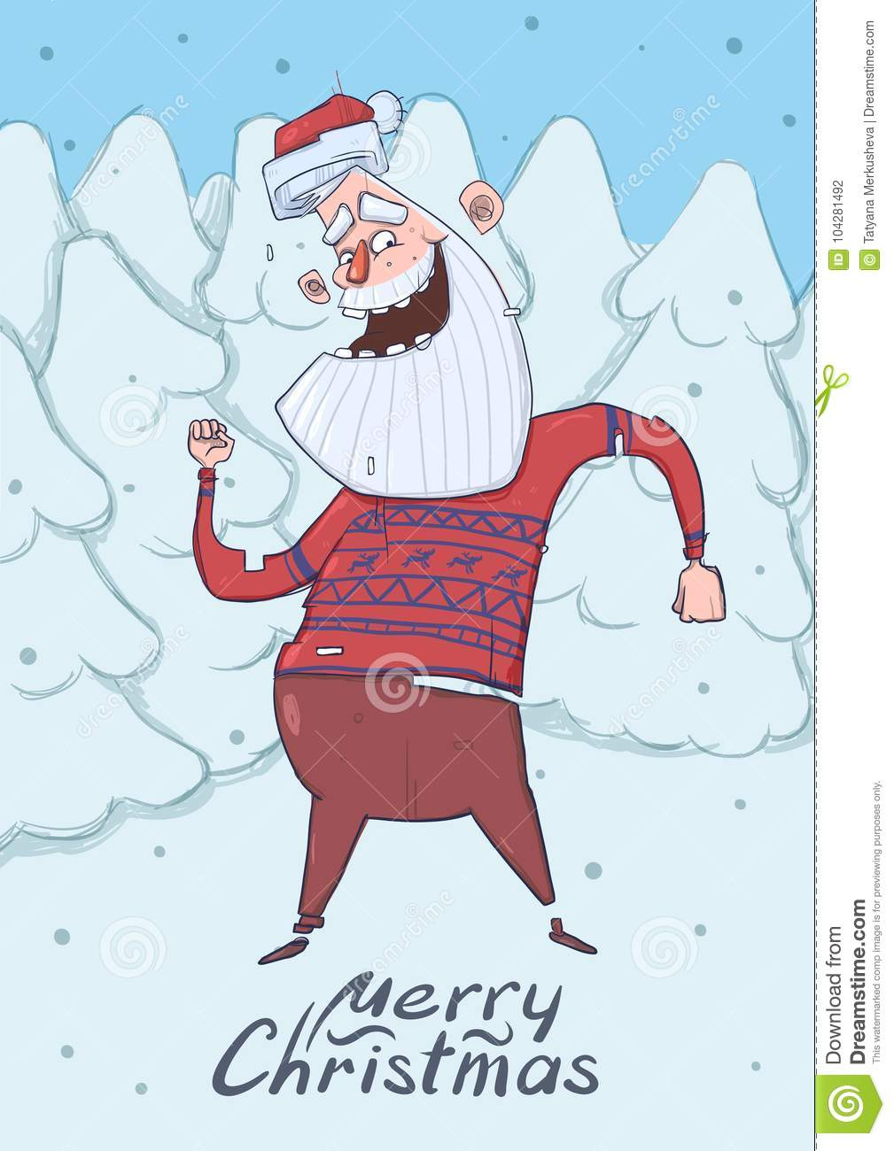 Christmas Card Of Funny Santa Claus Dancing In The Forest. Smiling ...