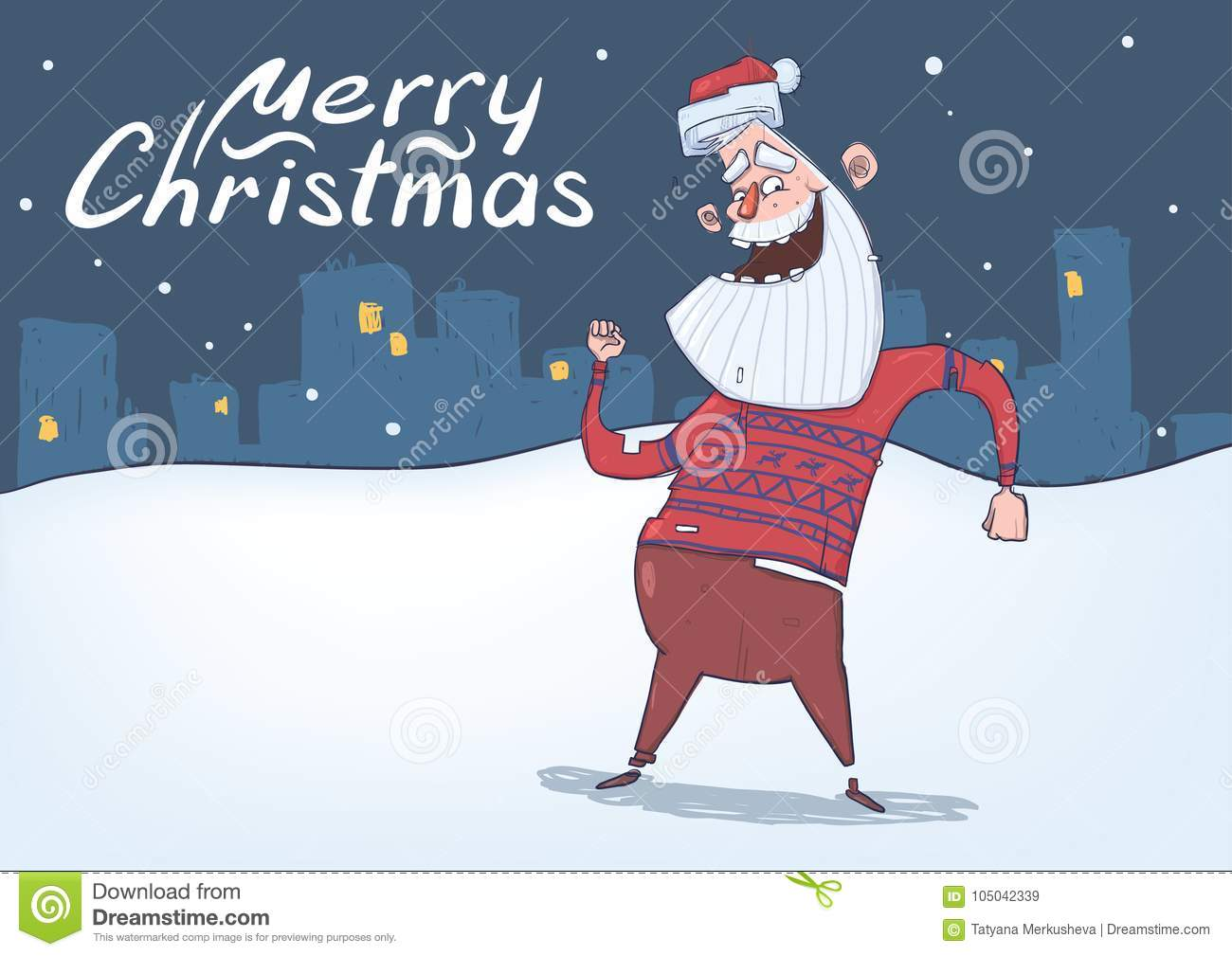Christmas Card With Funny Santa Claus Smiling And Dancing Stock ...