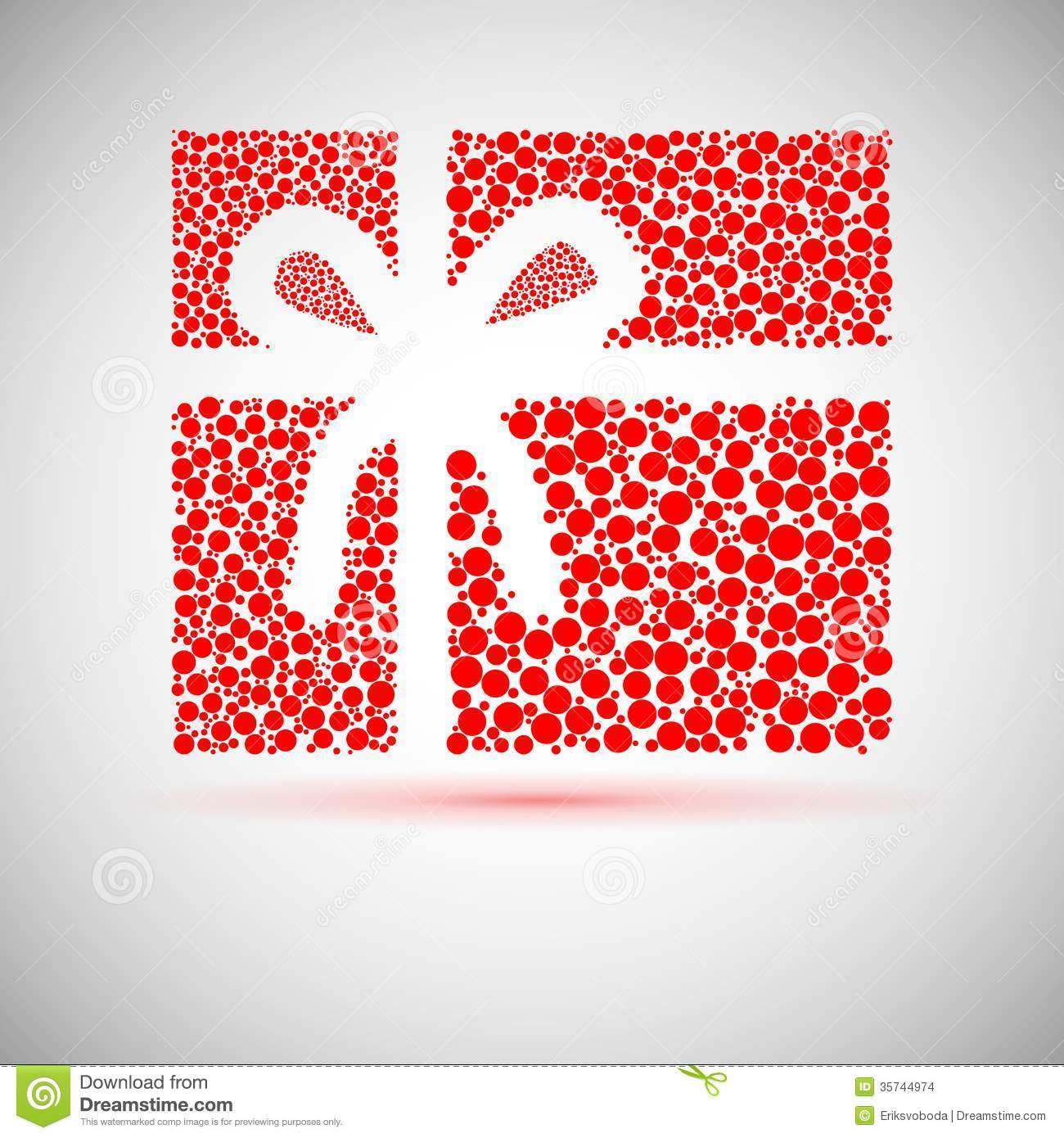 Christmas Card. Gift Box With Ribbon. Stock Vector - Illustration of ...