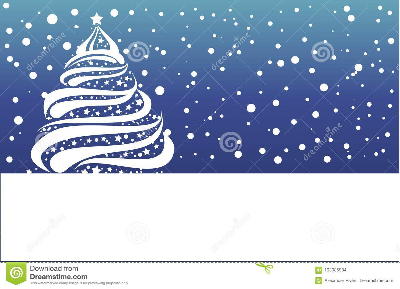 Christmas Card Gift Card With White Snowflake Christmas Tree Stock
