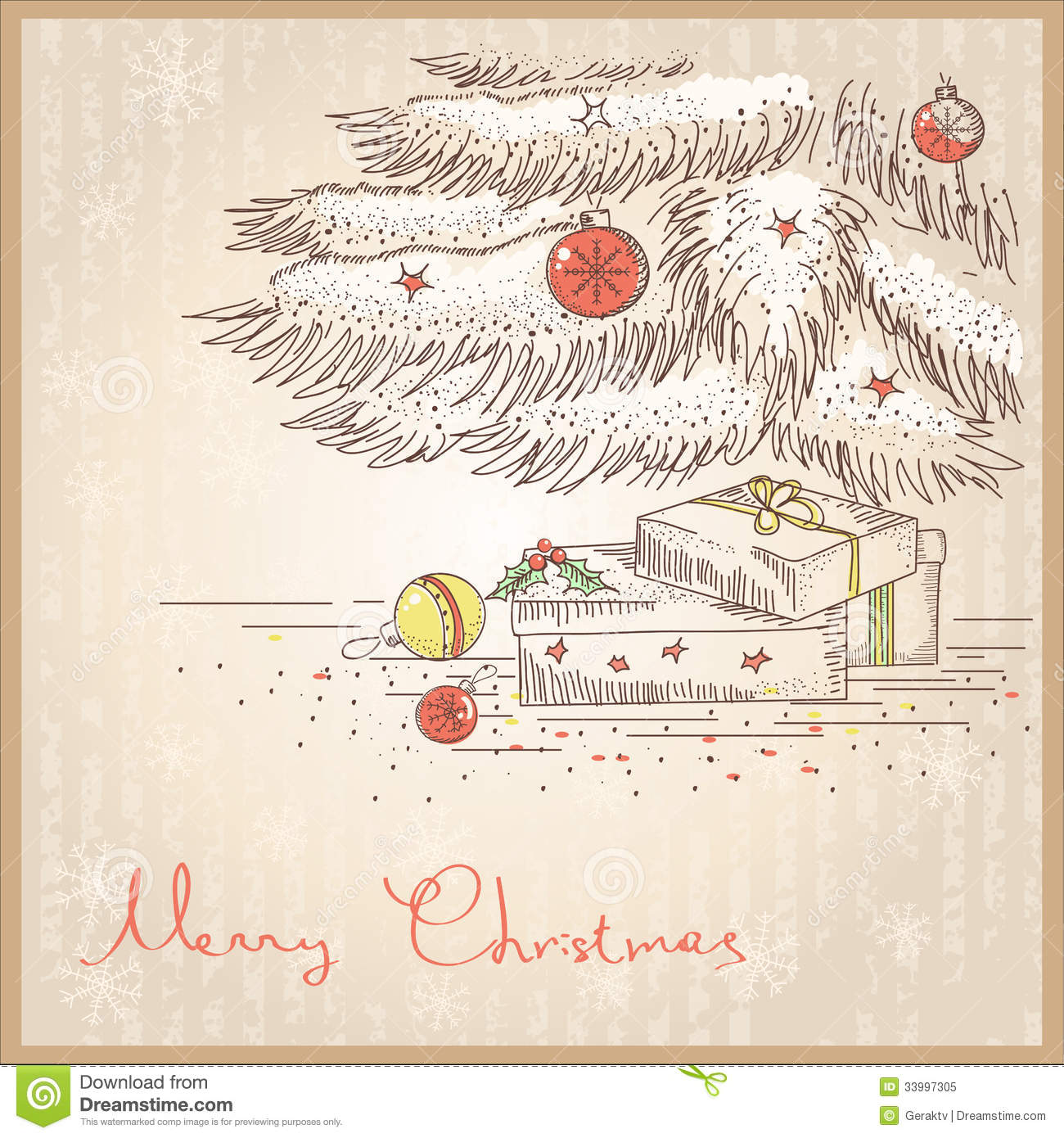 vintage christmas card with gifts and presentsvector drawing illustration