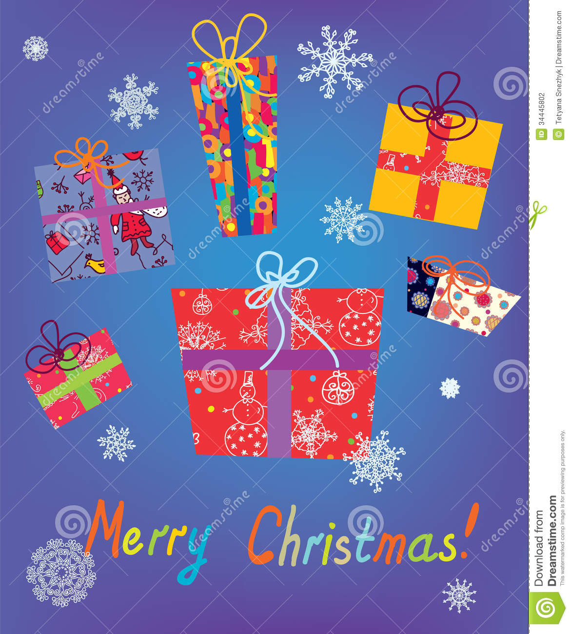 Christmas Card With Gifts And Snow Stock Vector Illustration Of Celebration Shadow 34445802