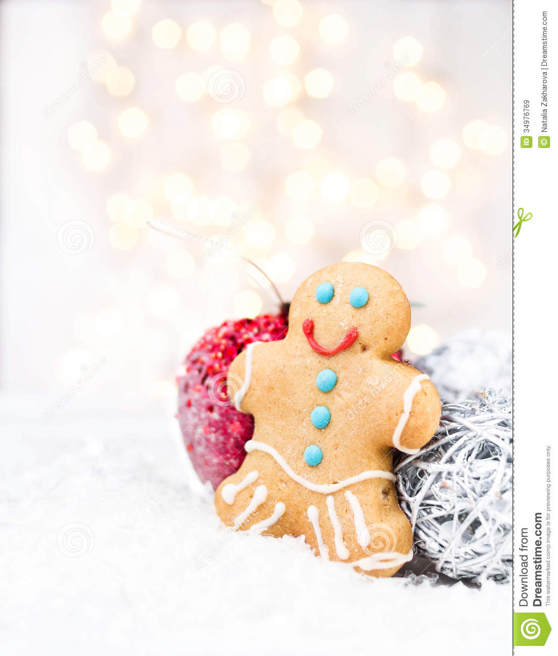 Christmas Card With Gingerbread Man Cookie Festive Decorations