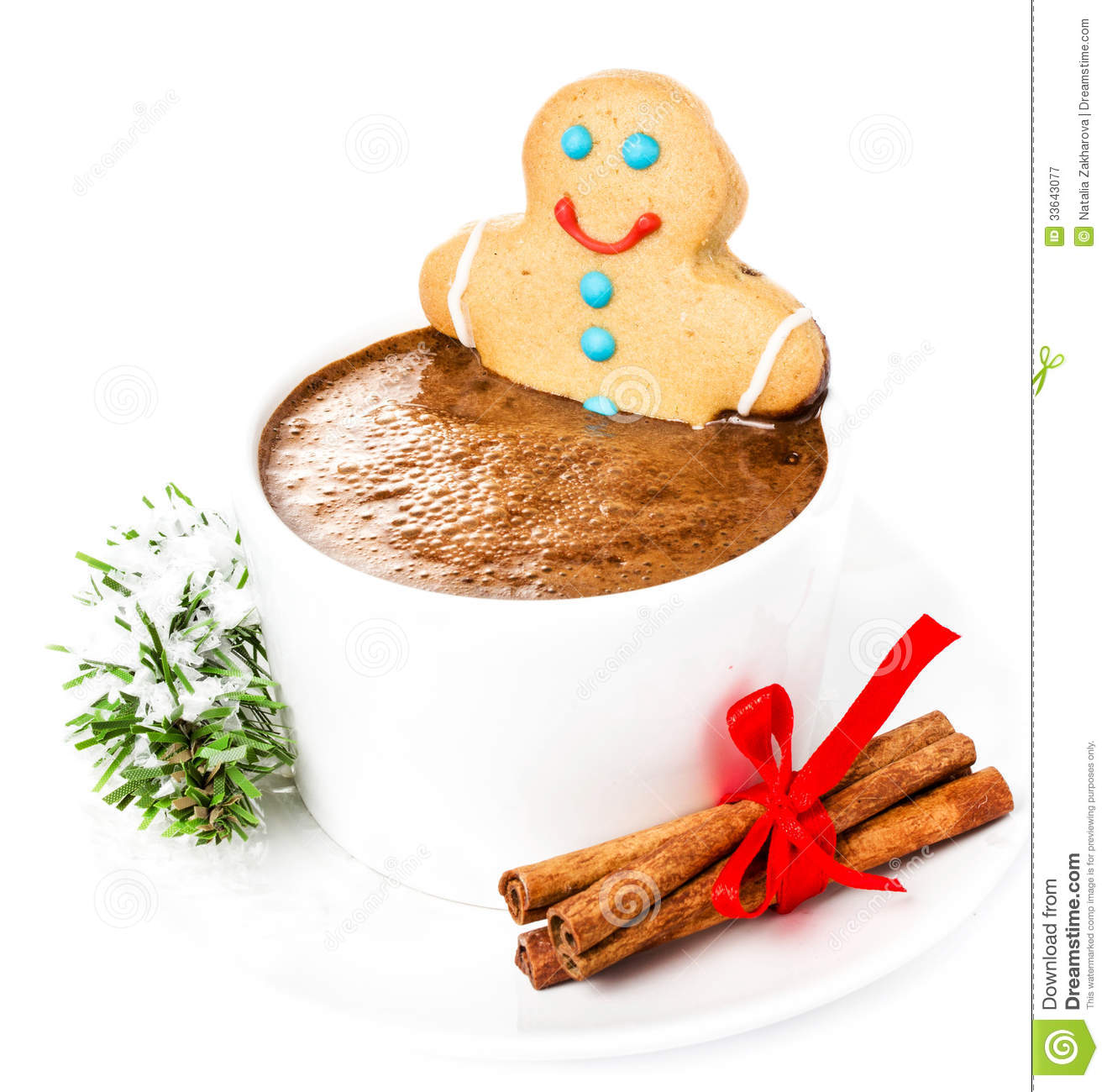Christmas Gingerbread Cookie Man and hot chocolate, cinnamon and ...