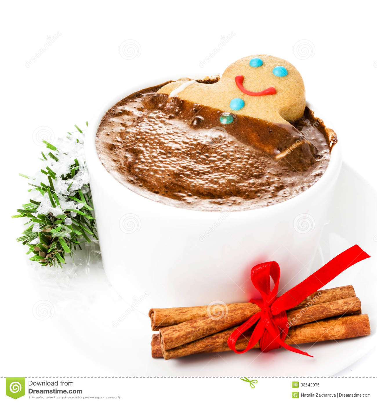 Christmas Card With Gingerbread Man And Hot Chocolate, Cinnamon ...