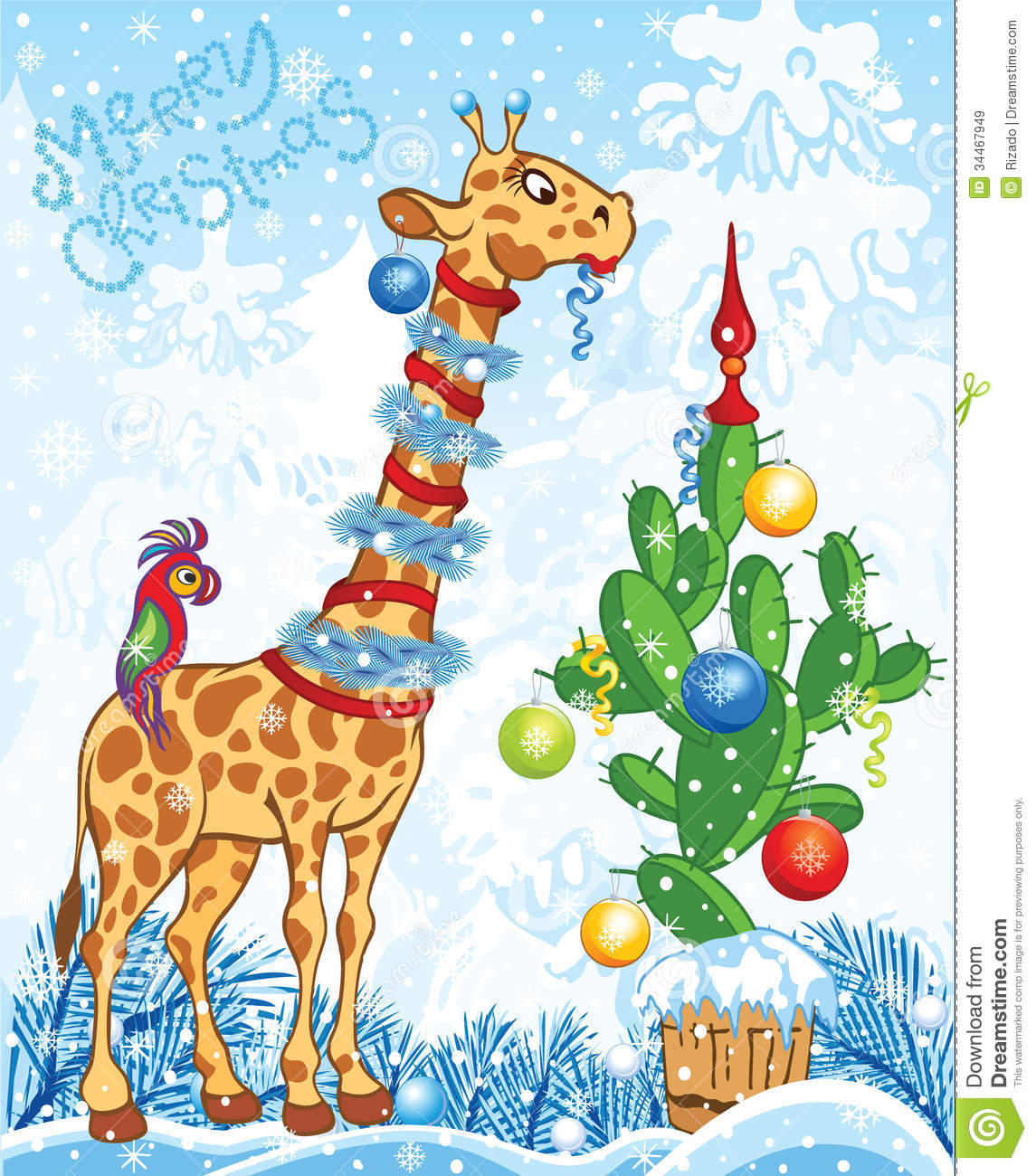Christmas Card With Giraffe And Cactus Royalty Free Stock