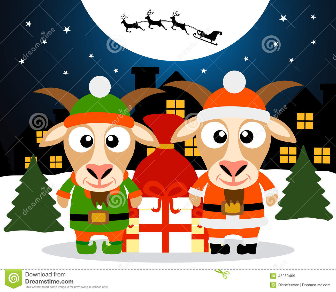 Christmas card with goat santa claus and goat elf stock vector image