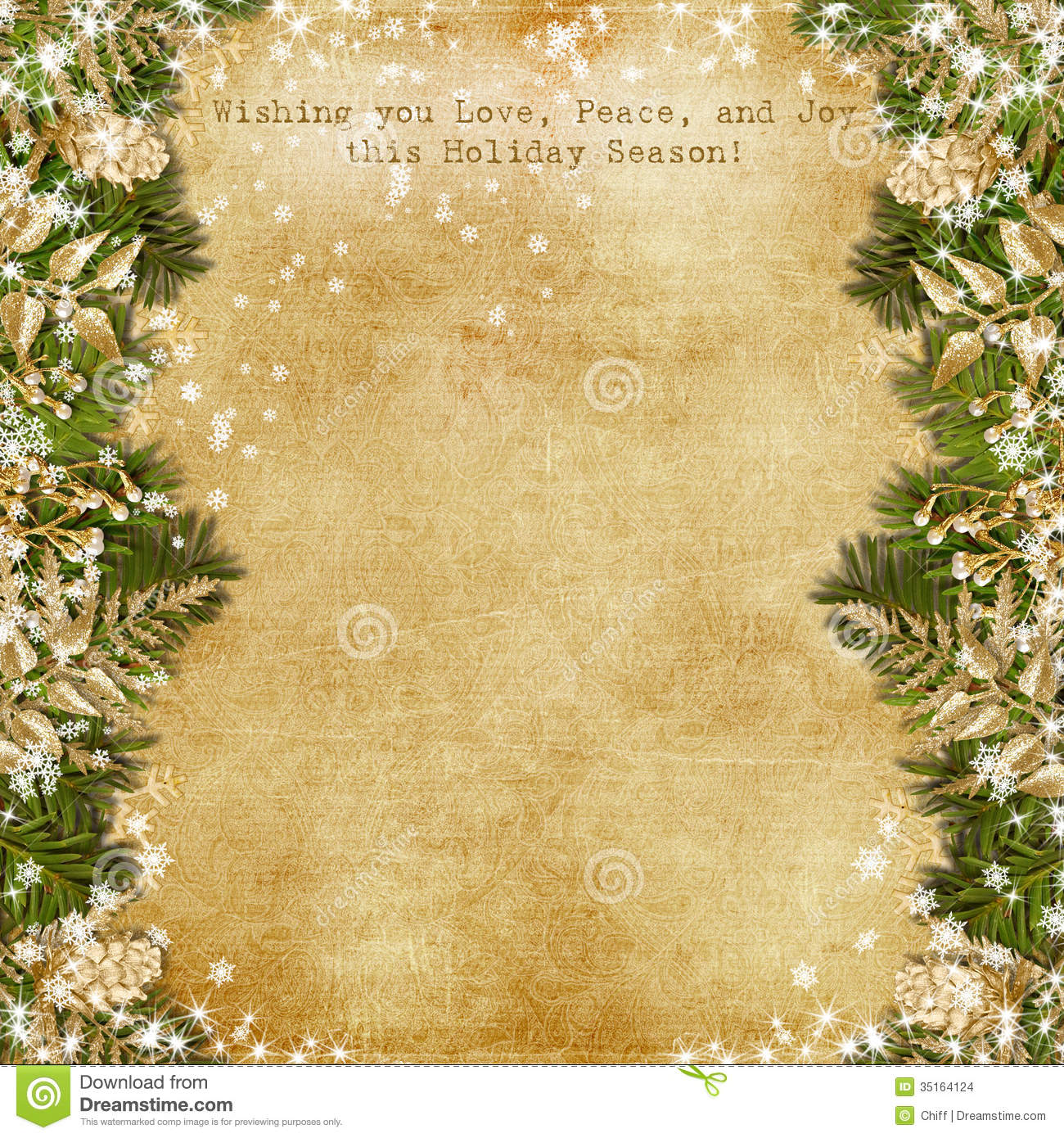 christmas card with gold garland on vintage background