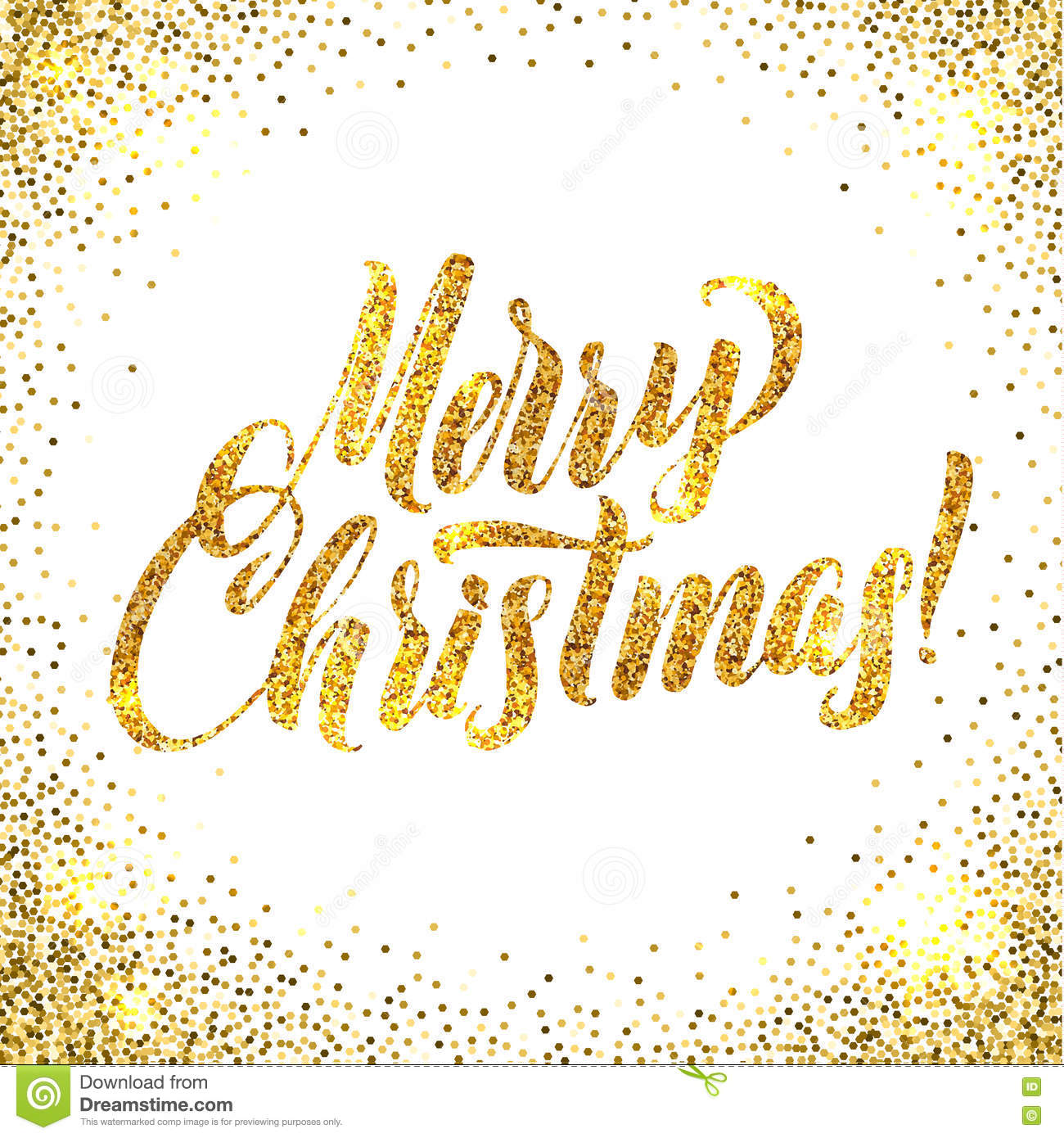 Christmas Card Gold Sparkles On White Background. Gold