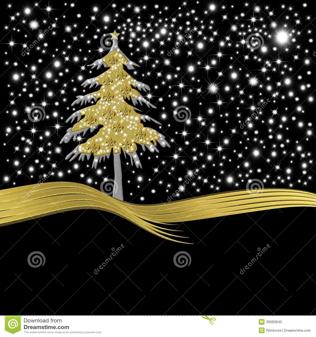 christmas card gold tree ornate with golden fleur de lis