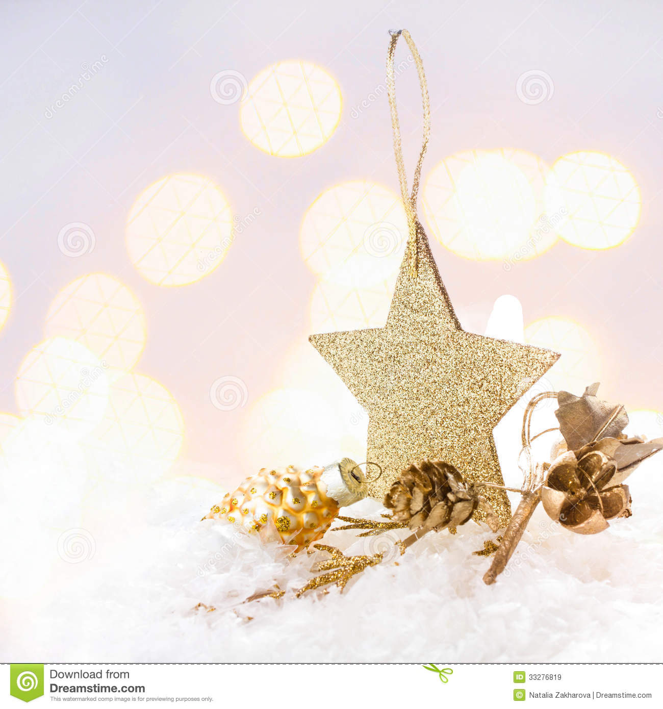 Christmas Card With Golden Star And Decorations On