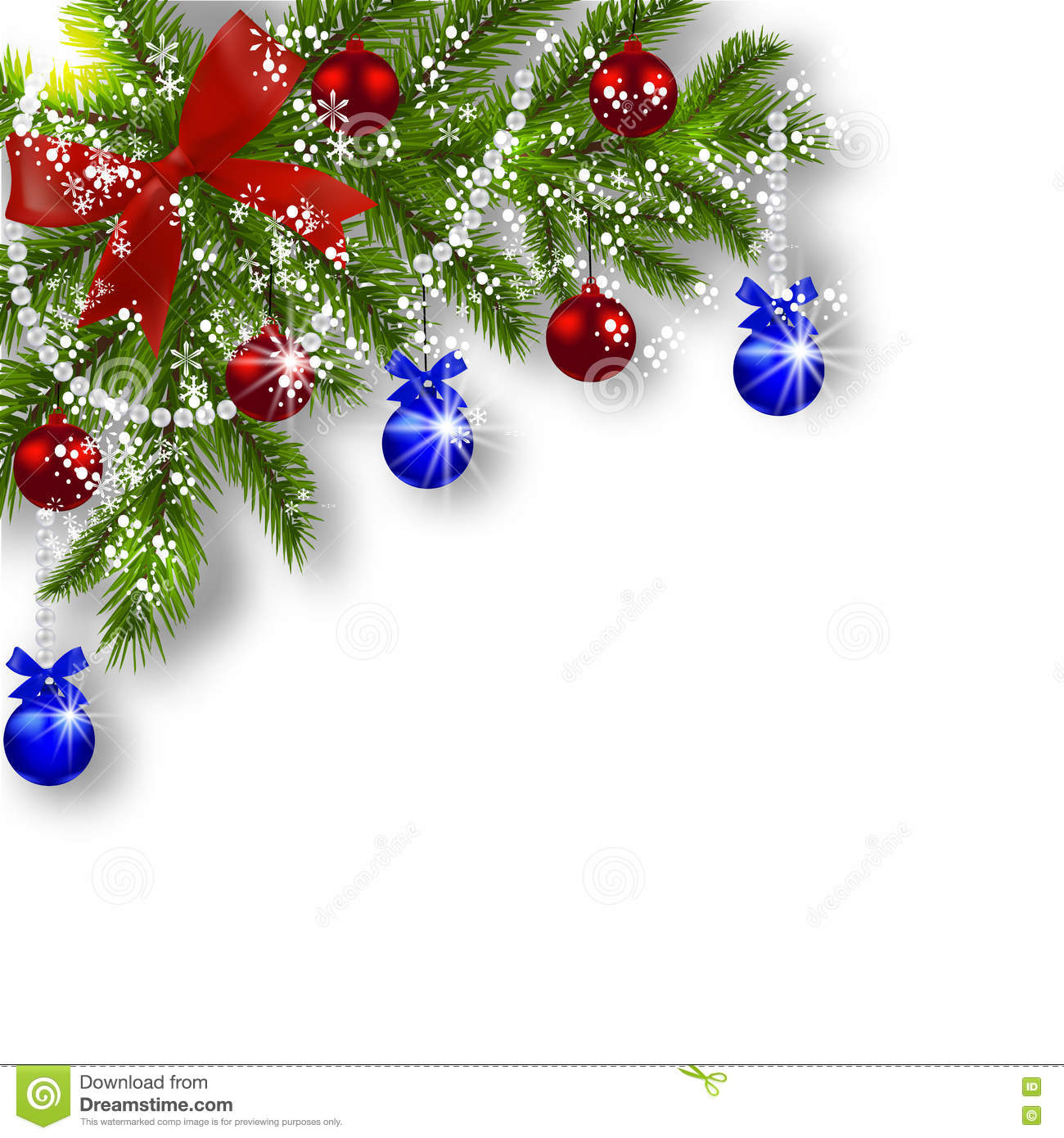 Blue And Green Christmas Tree: Christmas Card. Green Branches Of A Christmas Tree With