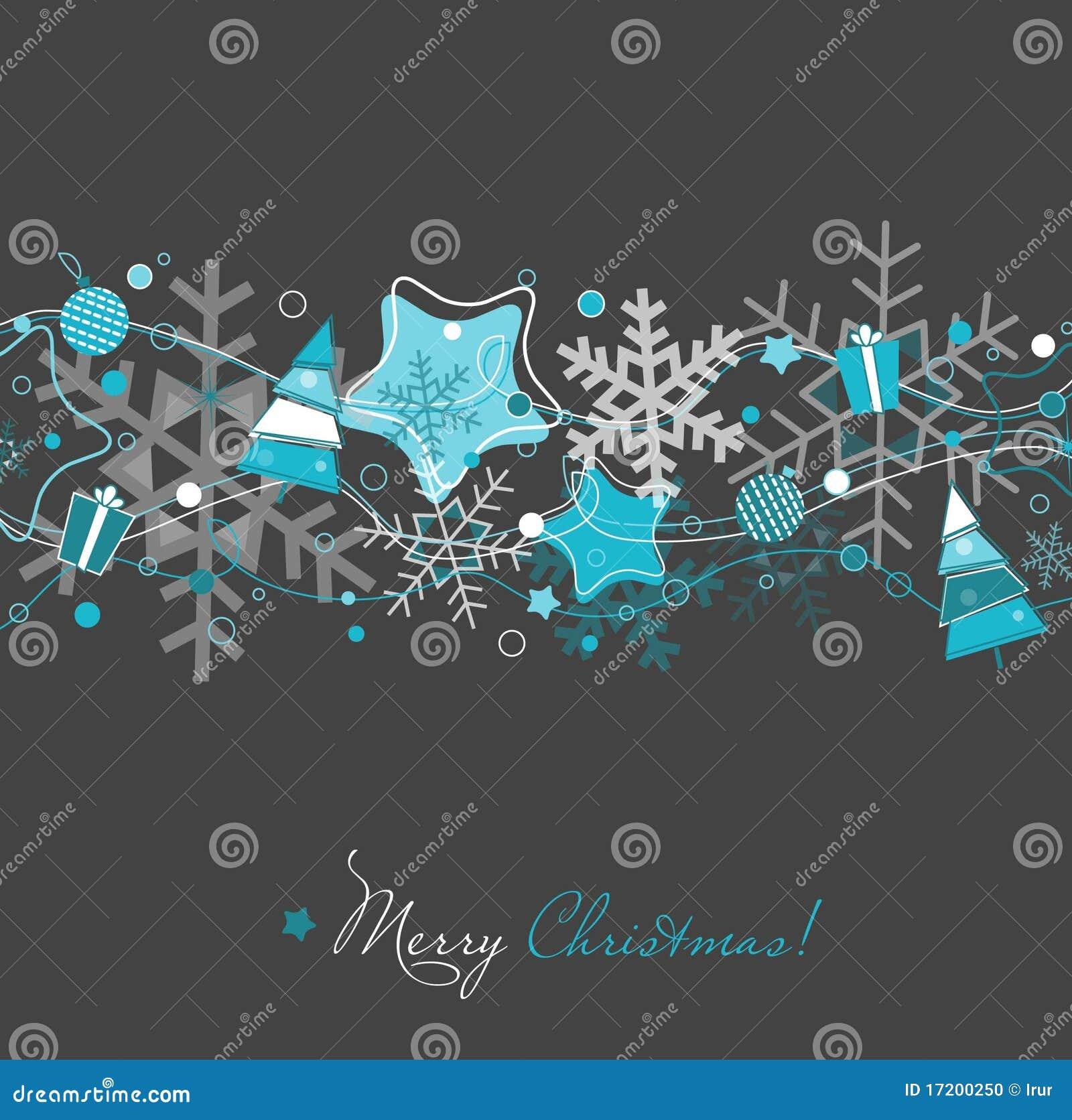 Christmas Card On Grey Stock Photo