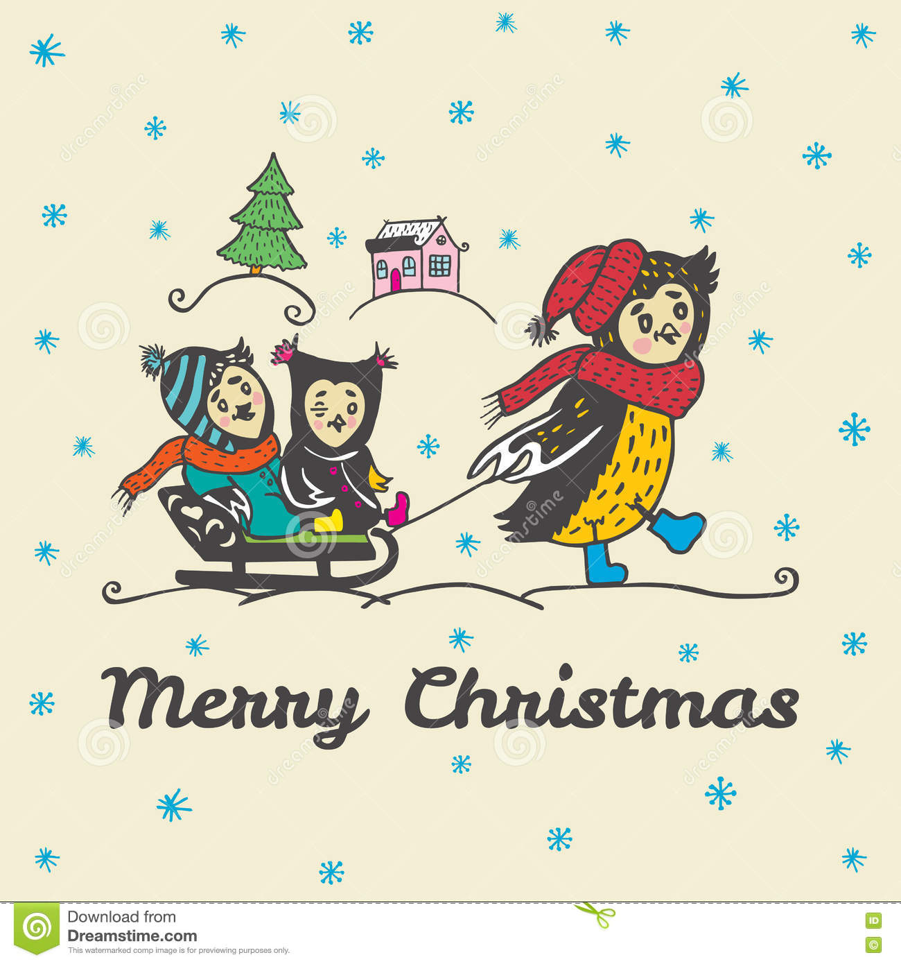 Christmas Card With Hand Drawn Owl Parent Carries Children On A Sled ...