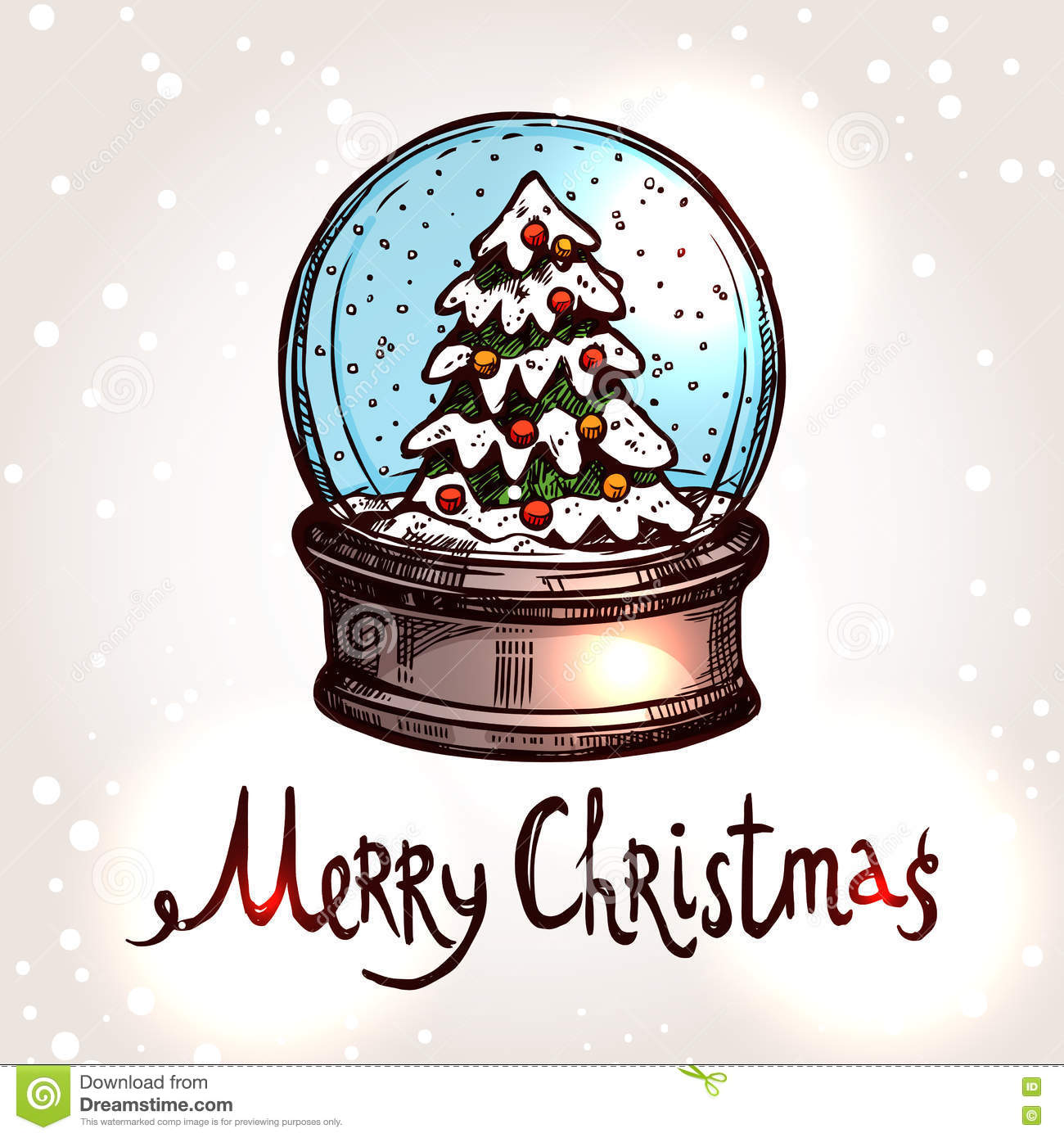 Christmas Card With Hand Drawn Snowglobe Stock Vector Illustration
